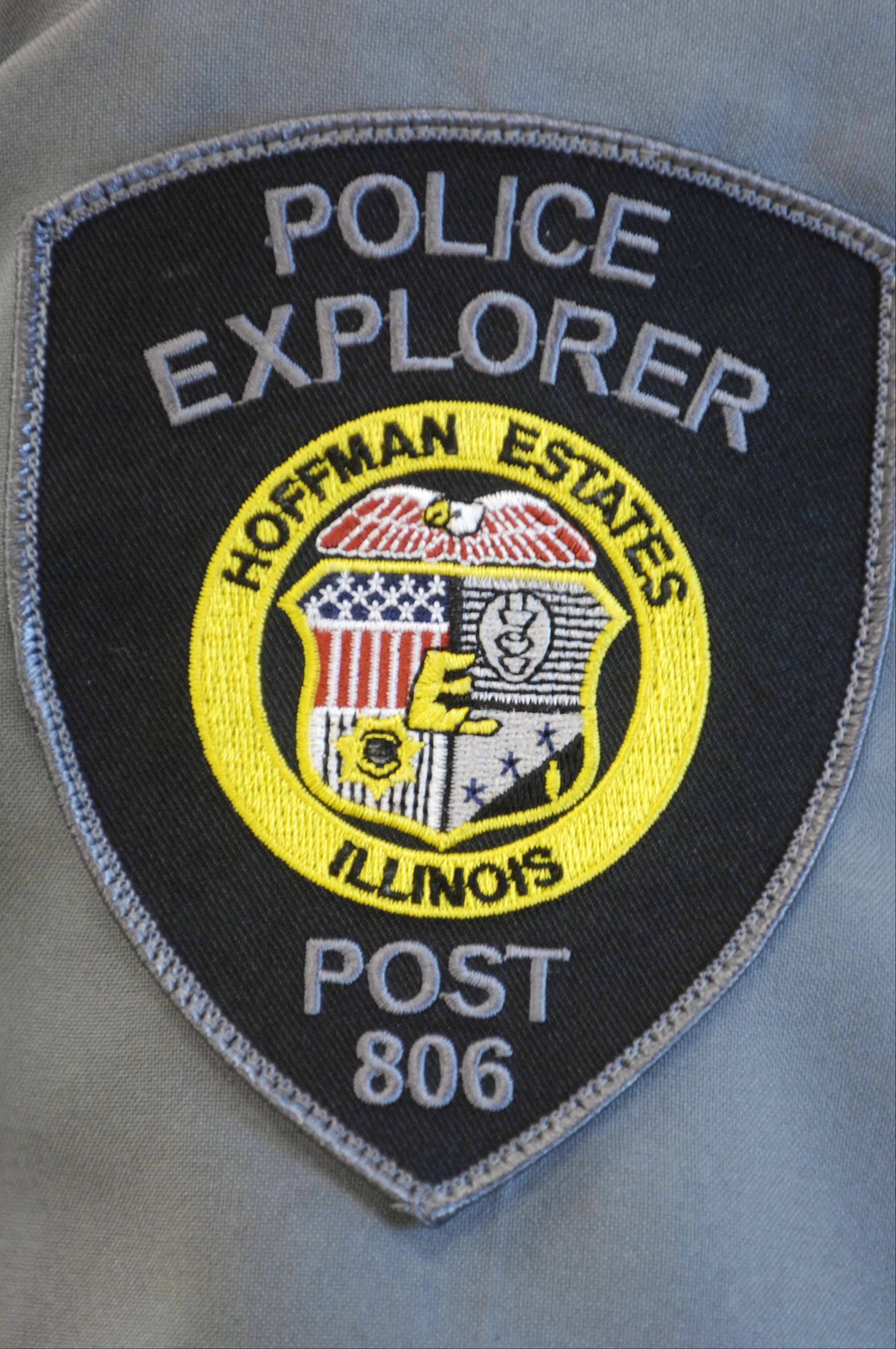 A Hoffman Estates Police Explorer patch on the sleeve of a class-B uniform.