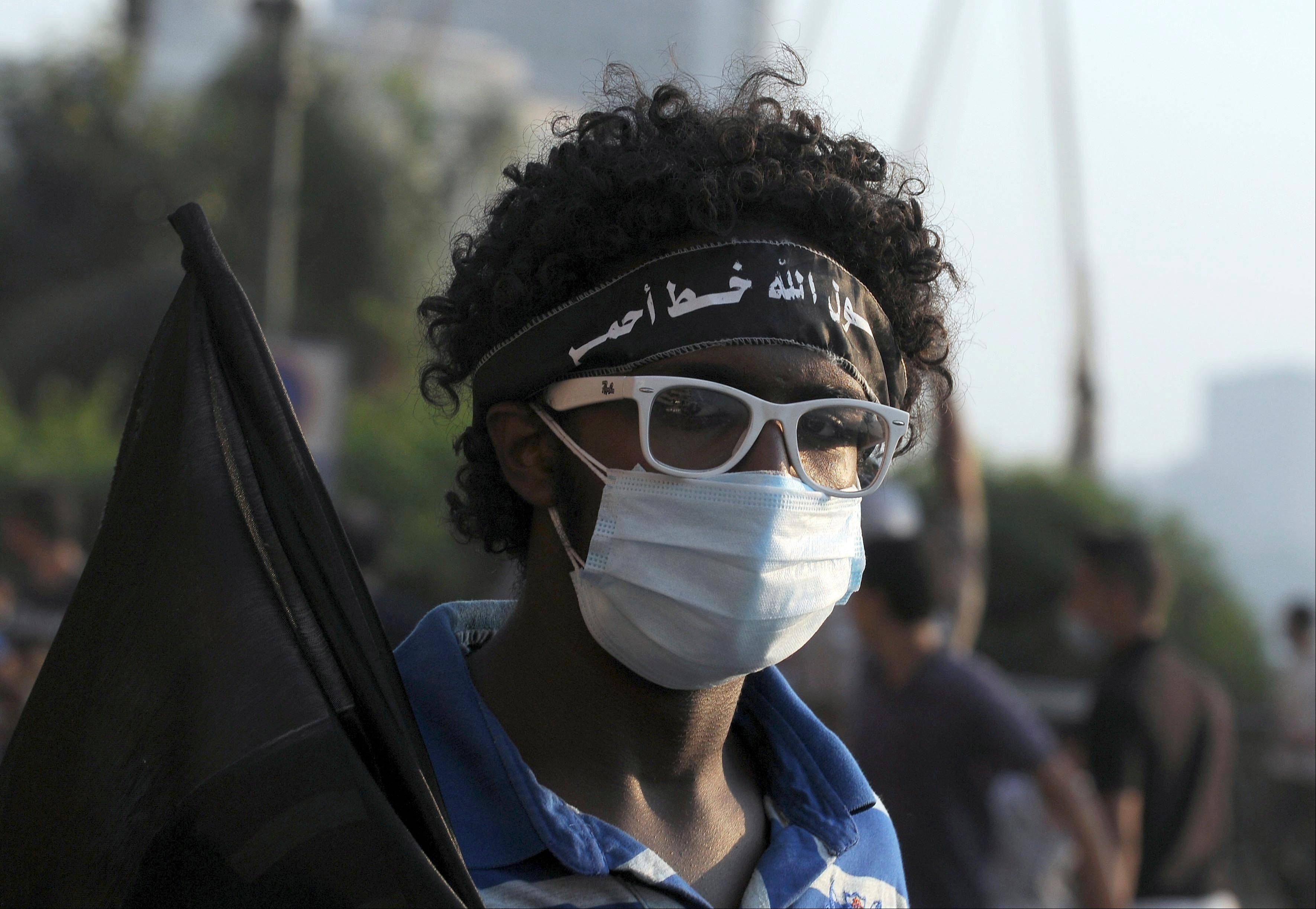 An Egyptian protester covers his face Friday during clashes with security forces near the U.S. embassy in Cairo.