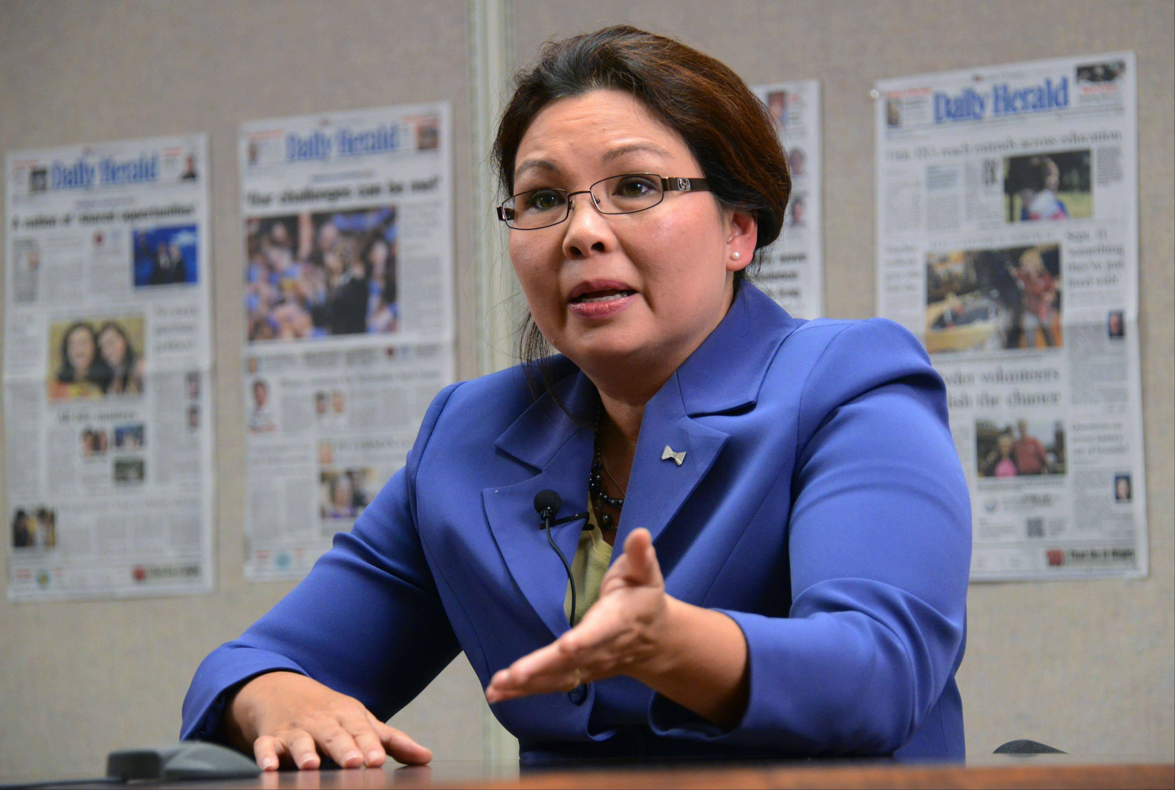 Democratic congressional candidate Tammy Duckworth talks to the Daily Herald Editorial Board on Thursday.
