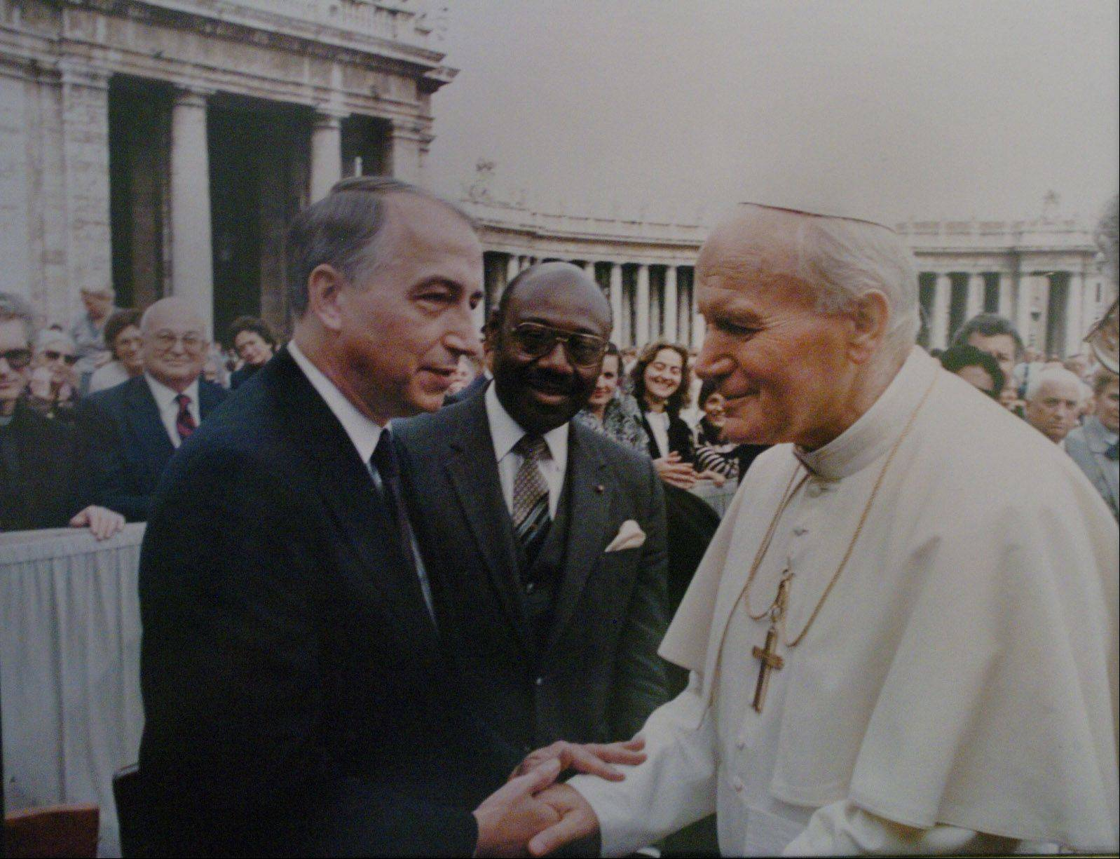 John Kordek, former U.S. Ambassador to Botswana, meeting Pope John Paul II at the Vatican with a diplomatic delegation.