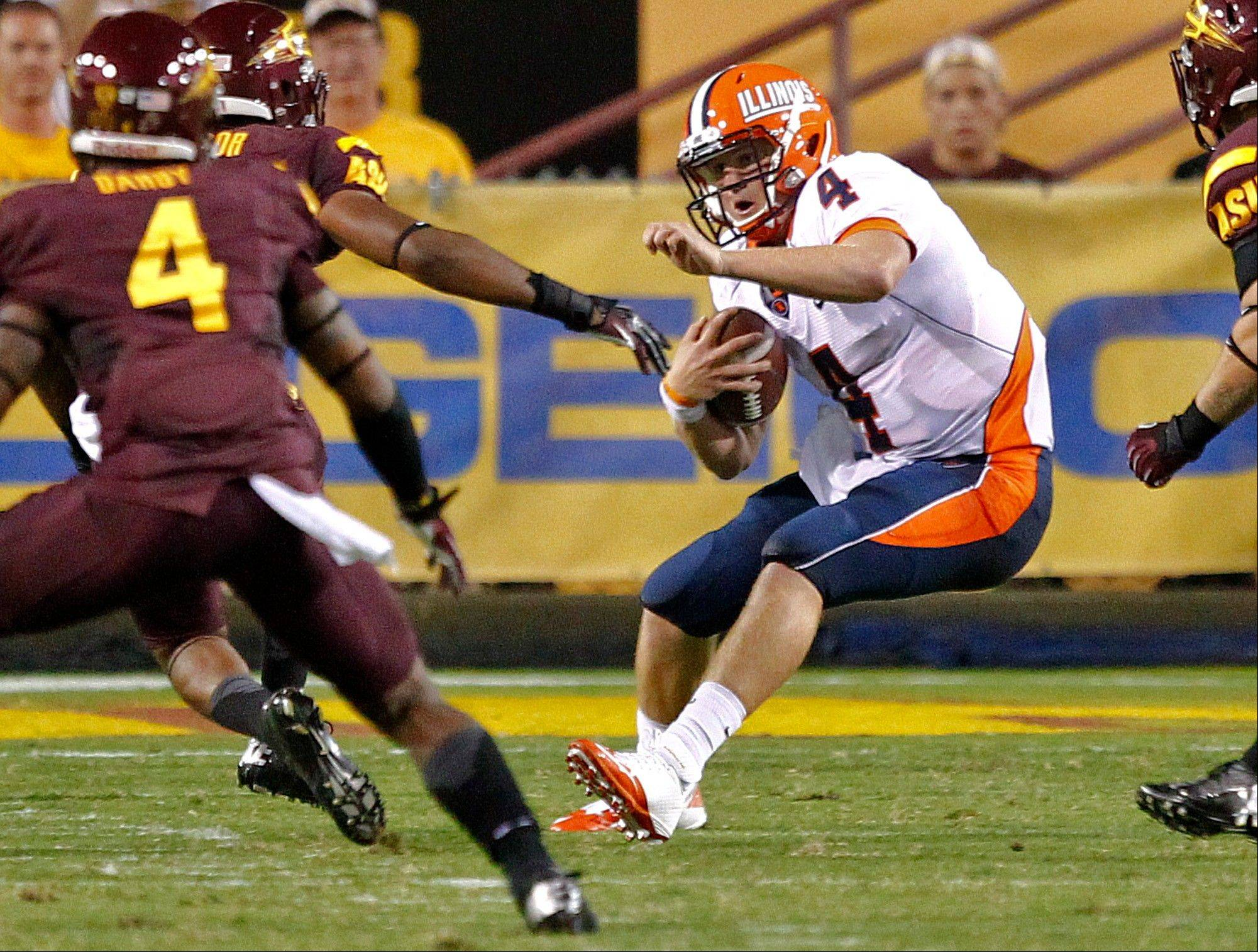Illinois quarterback Reilly O'Toole scrambles against Arizona State last Saturday in Tempe, Ariz. O'Toole will start again for the Illini this Saturday against Charleston Southern.