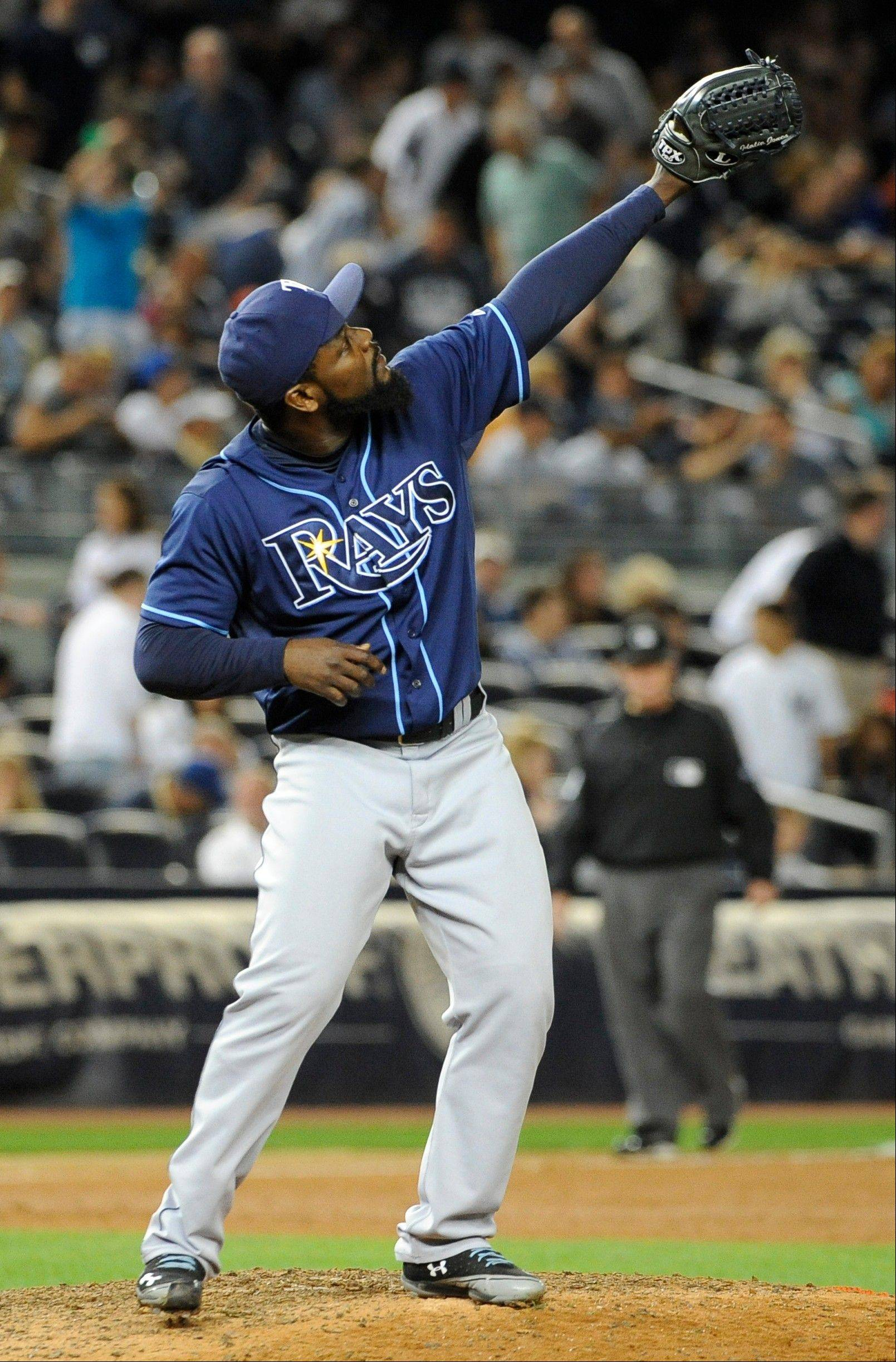 Tampa Bay Rays relief pitcher Fernando Rodney celebrates the Rays 6-4 win over the New York Yankees on Friday in New York.