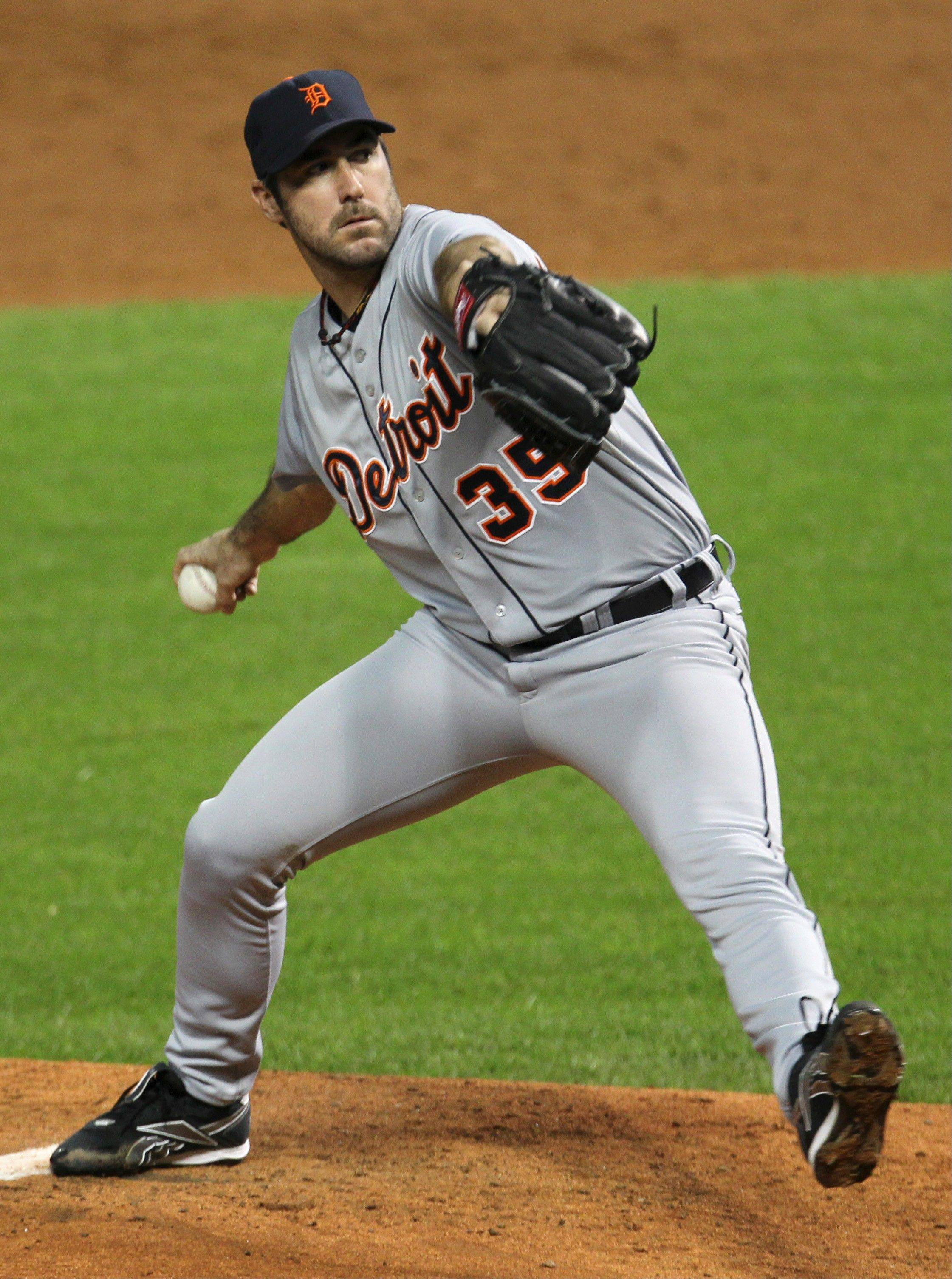 Detroit Tigers starting pitcher Justin Verlander delivers against the Cleveland Indians Friday in Cleveland.