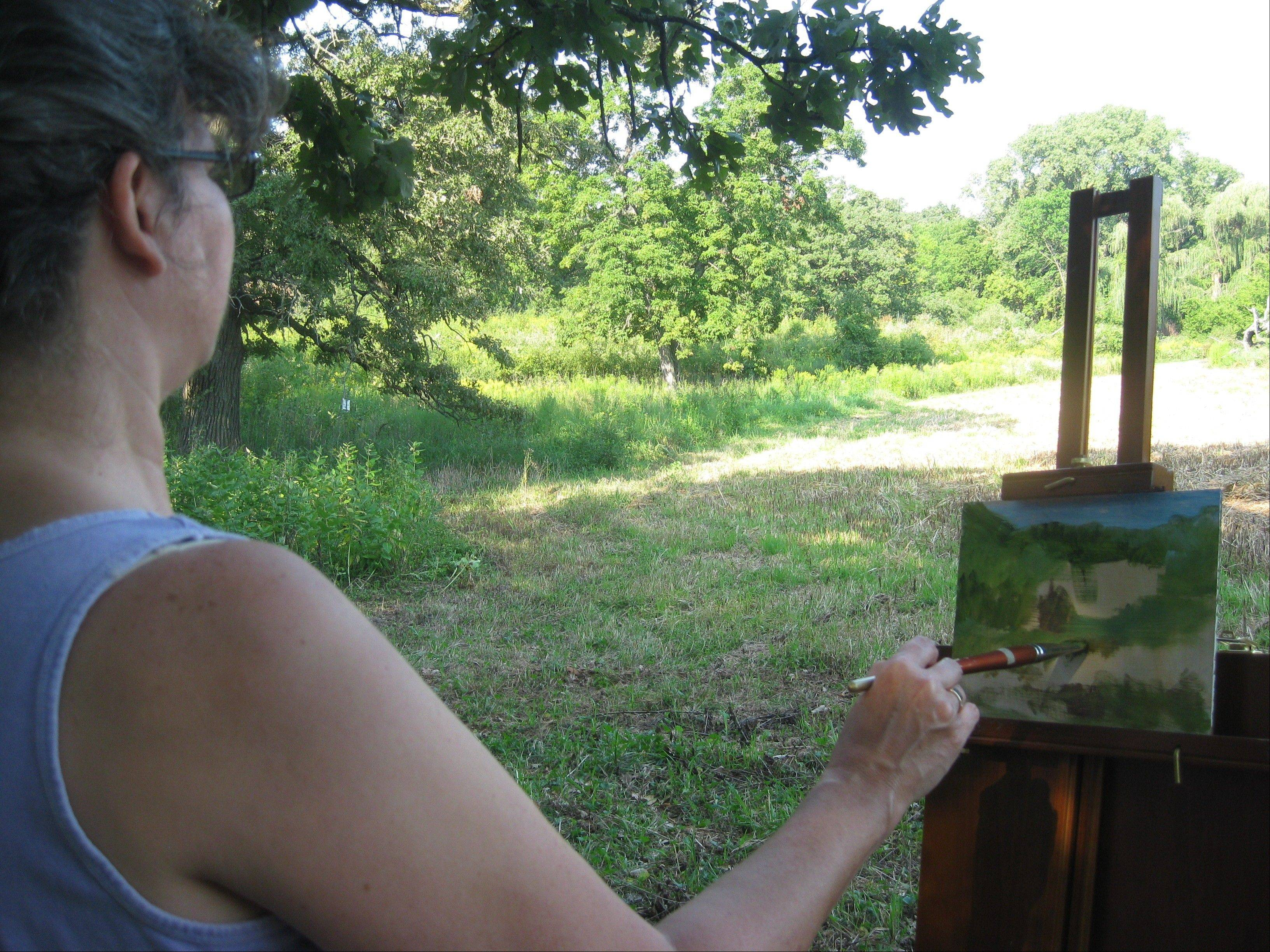 An artist paints at Crabtree Nature Center.