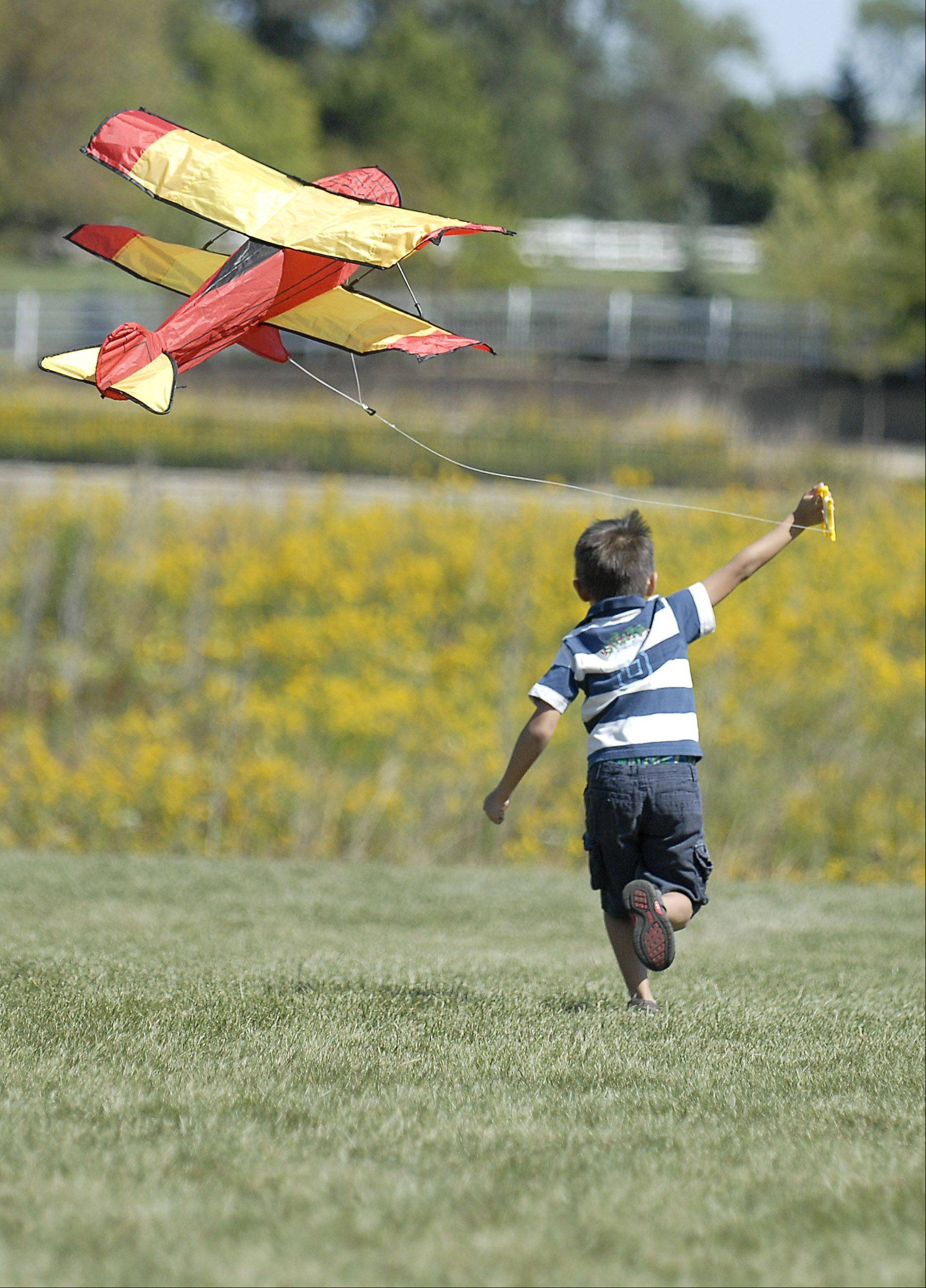 Lucas Oldham, 6, of Geneva, has lift off with his biplane kite on Saturday during Geneva Park District's Kite Festival at Peck Farm Park. Lucas attended the event with his father, Michael, and mother, Tania, for the first time.