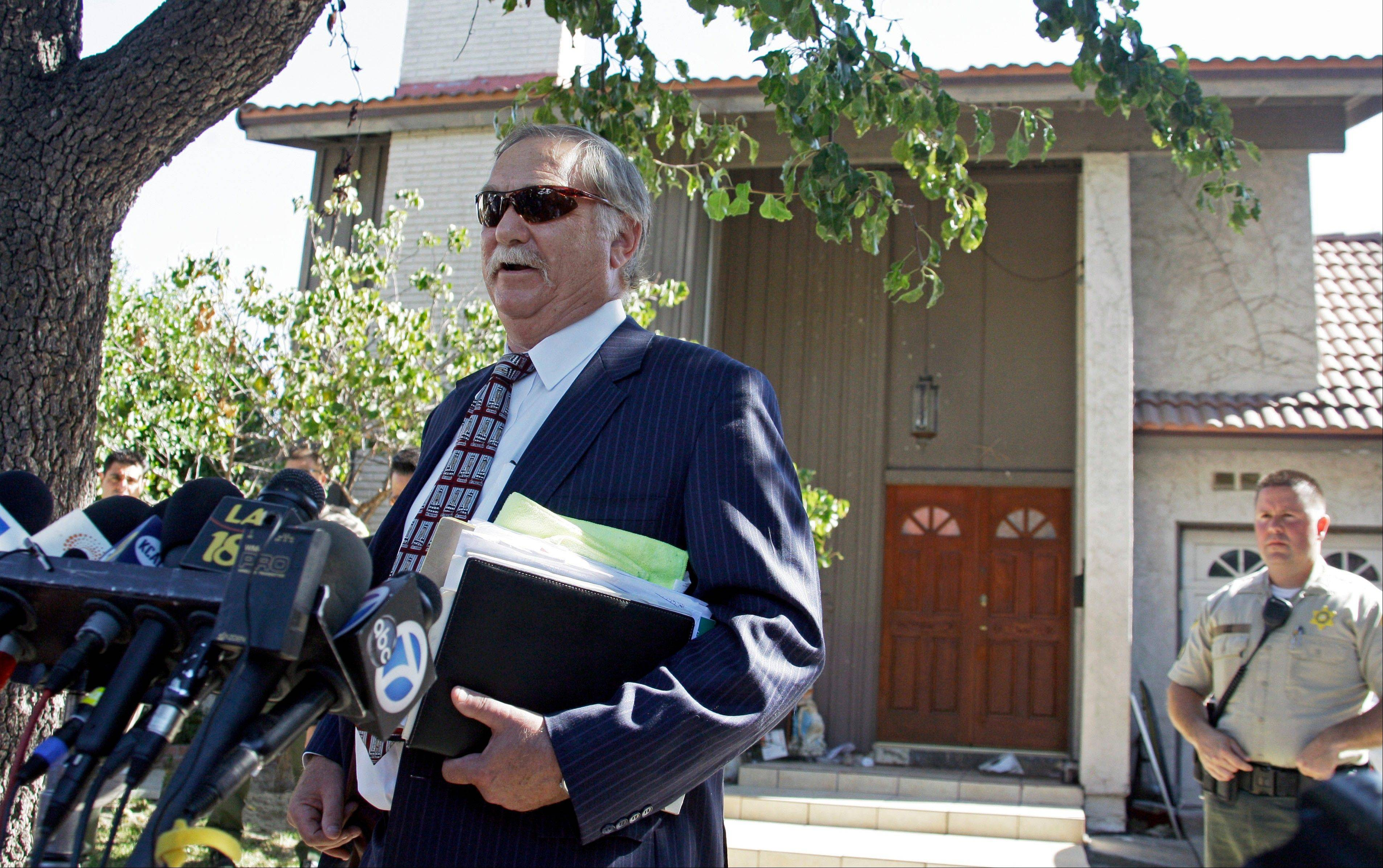 Attorney Steve Seiden speaks to reporters outside at a home believed to belong to the filmmaker associated with an anti-Muslim film, that has caused controversy and violence throughout the Middle East and elsewhere.