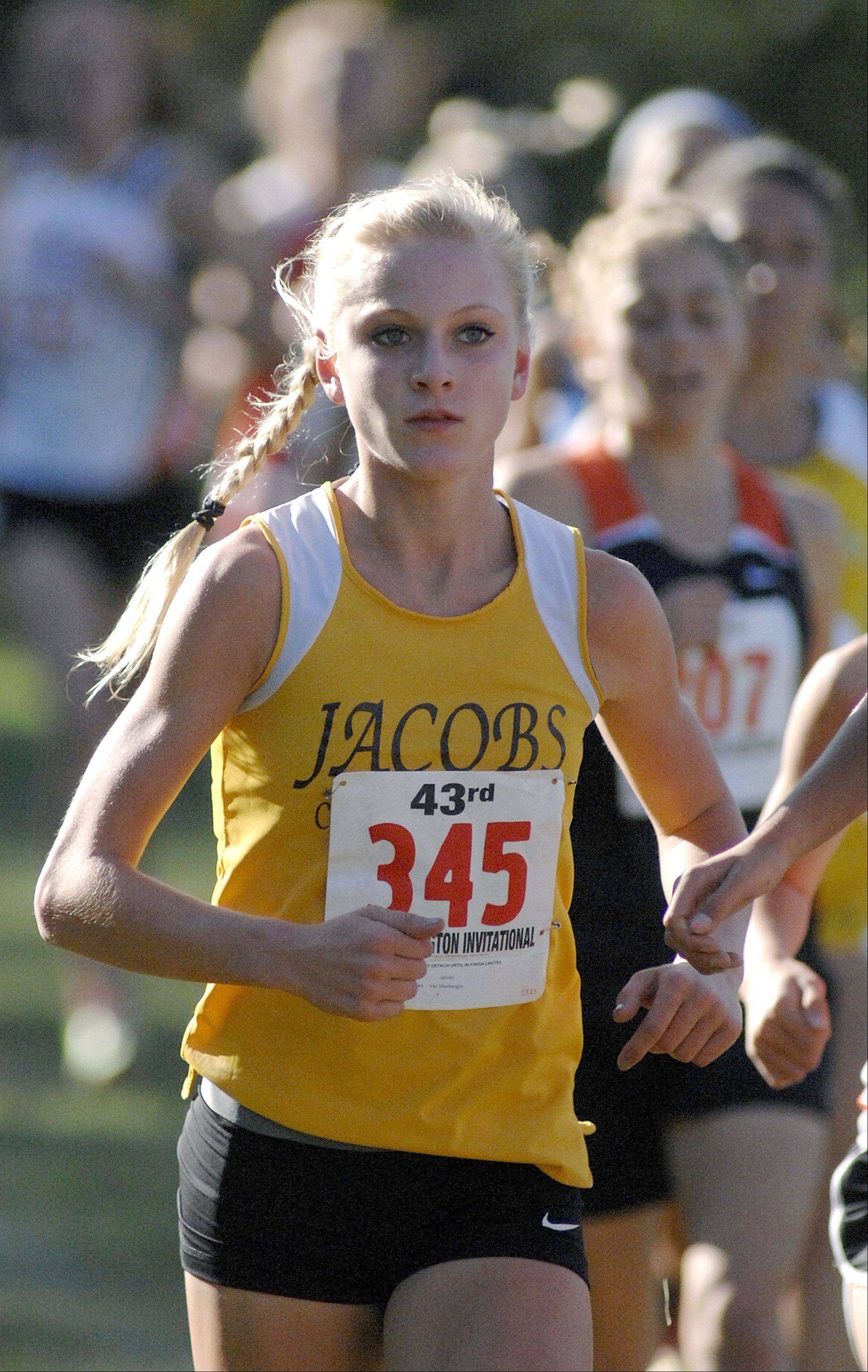 Jacobs' Lauren Van Vlierbergen takes fourth place overall in the girls varsity race at the Kaneland Eddington Invitational in Elburn on Saturday, September 15.