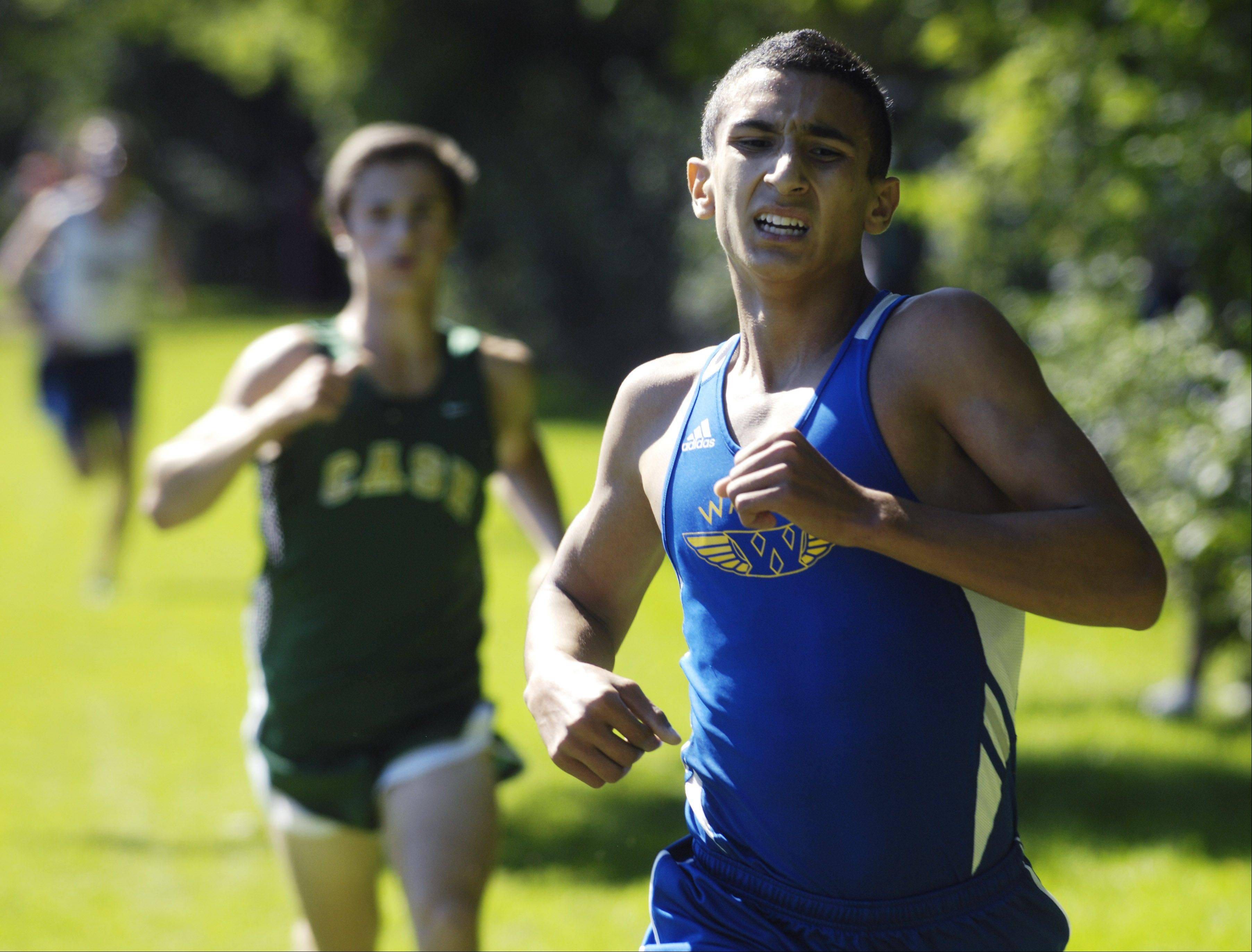 Warren's Martin Martinez wins the boys' race during the Warren cross country invite in Gurnee on Saturday. His effort was key to the Blue Devils winning the team competition.