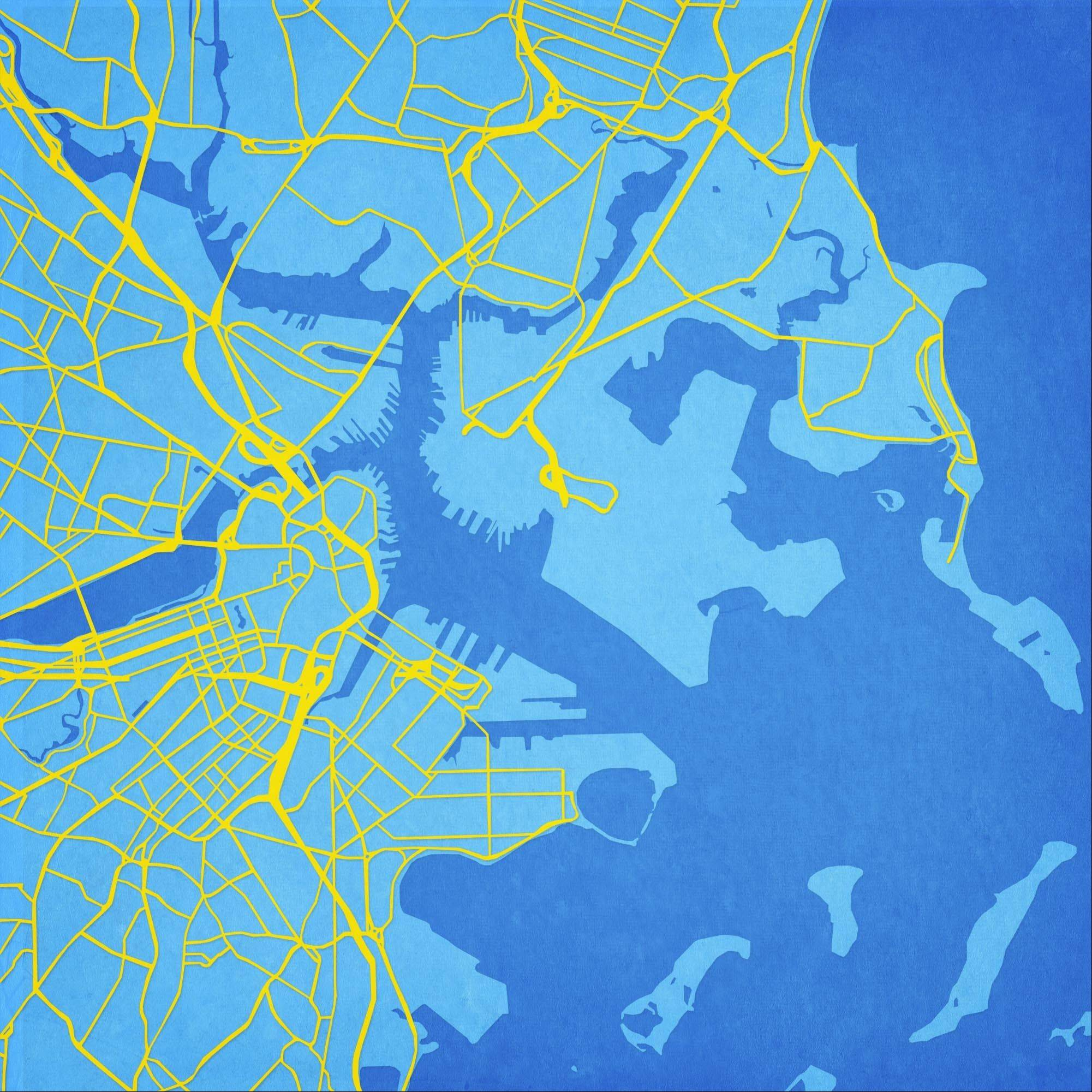 A map of Boston is shown from Atlanta-based City Prints Map Art. There's art in cartography: Street grids, the curve of a shoreline and topographic details offer visuals that lend themselves to wall art, rugs and textiles.