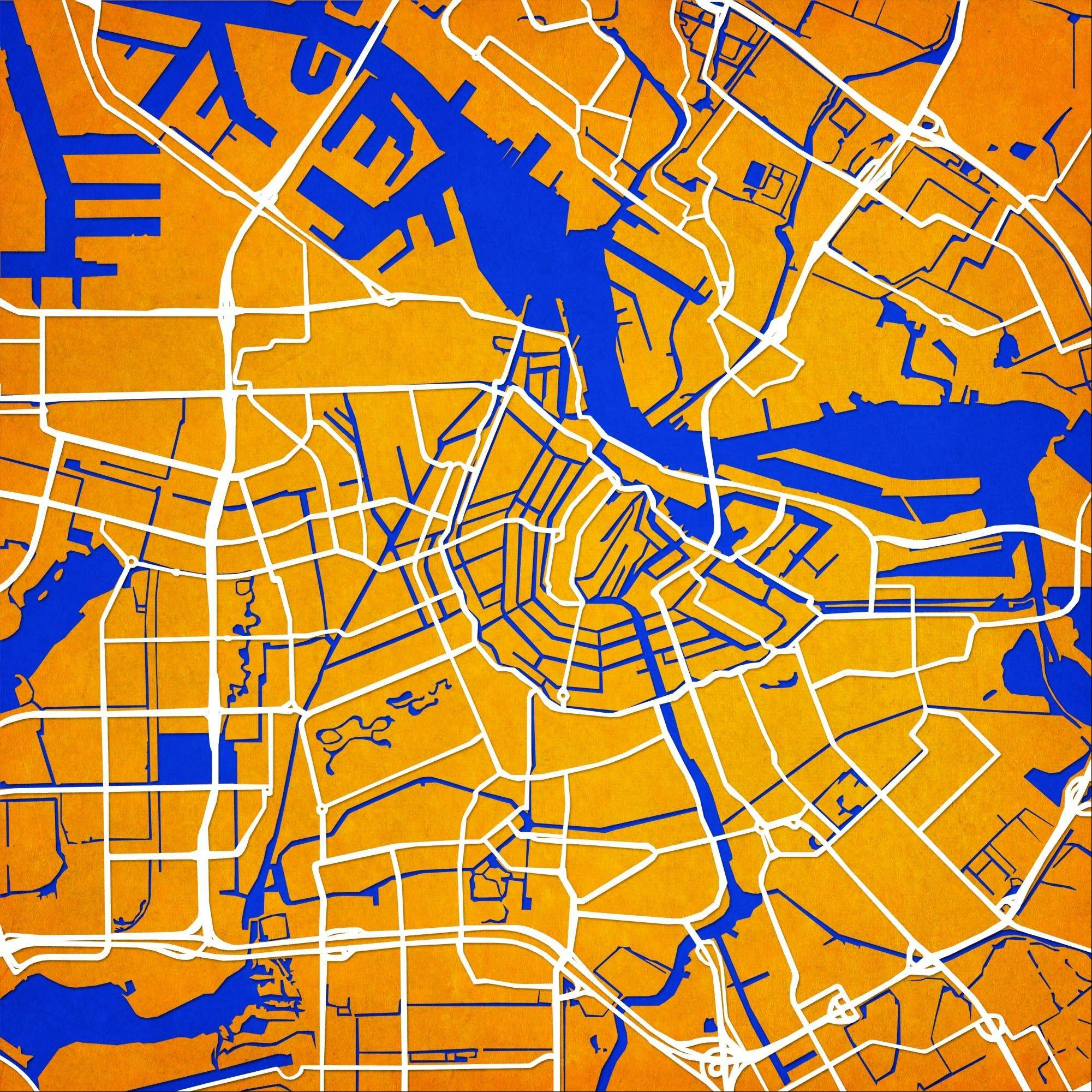 A map of Amsterdam is shown from Atlanta-based City Prints Map Art.