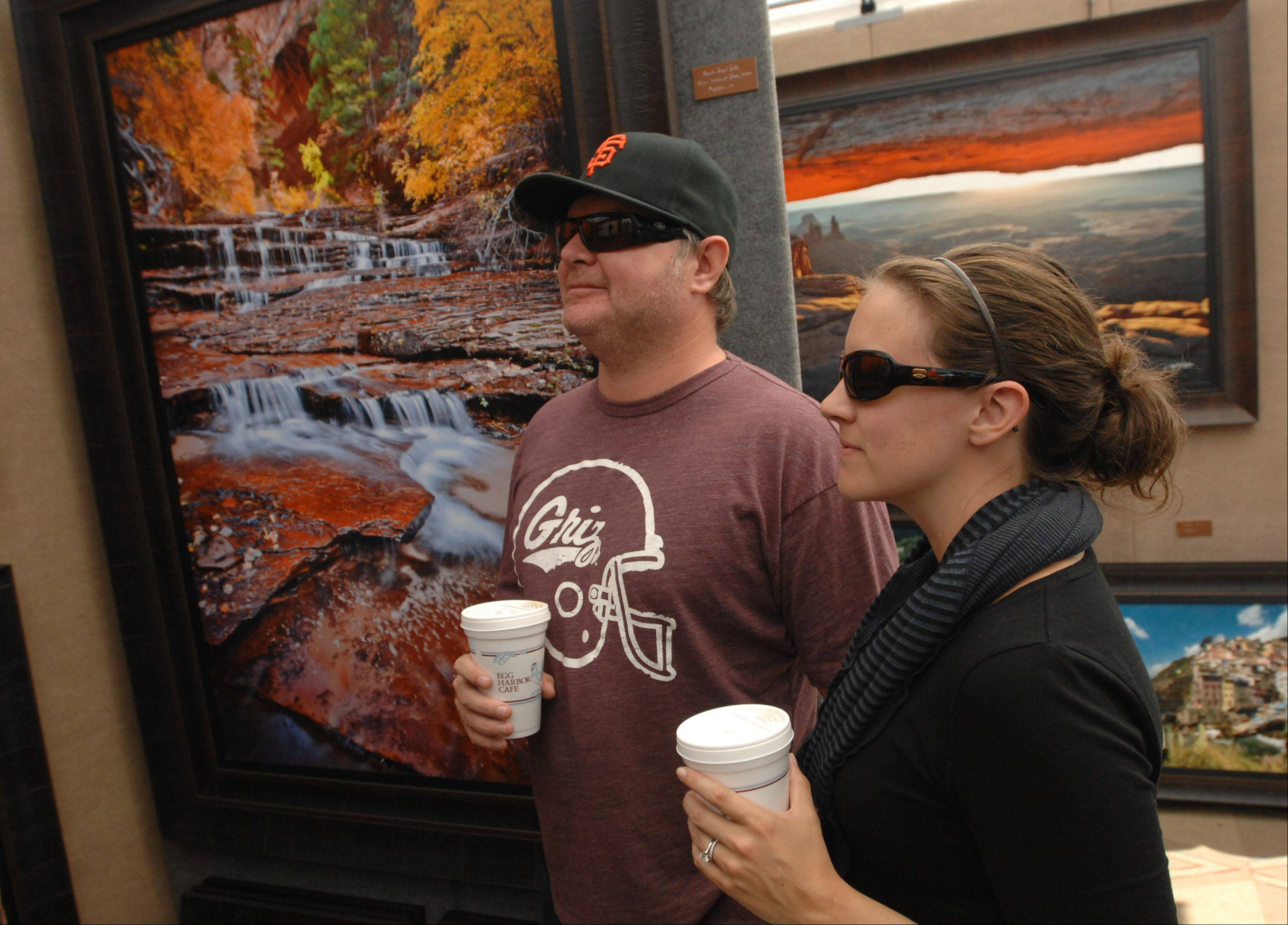 Tim and Meghan Conti of Naperville view the work of Jason Pavalonis on Saturday during the Naperville Art League's 27th annual Riverwalk Fine Art Fair.