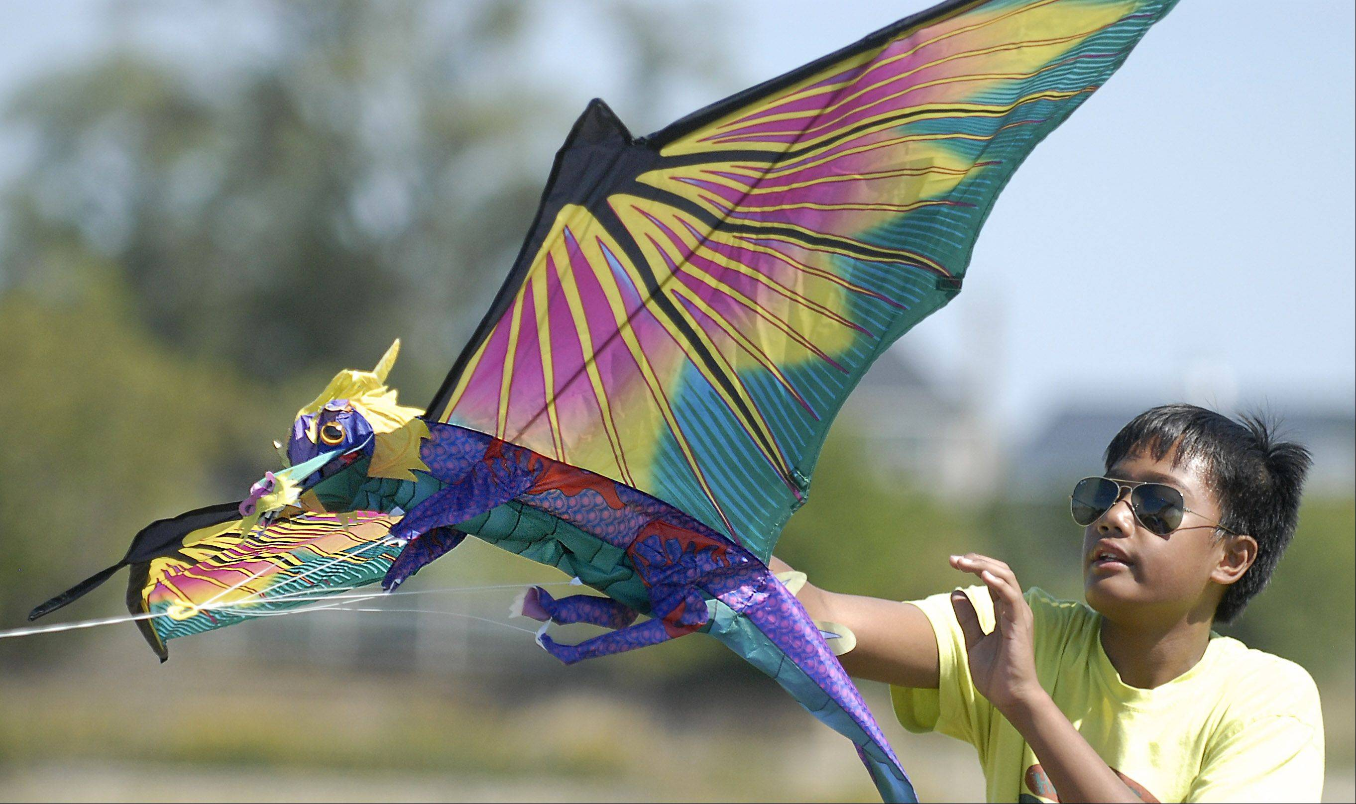 Kyle Liwanag releases a dragon kite for his friend, Brandon Jenkins, both 12 and from Geneva, at Peck Farm Park on Saturday. They attended the Geneva Park District's second annual Kite Festival.