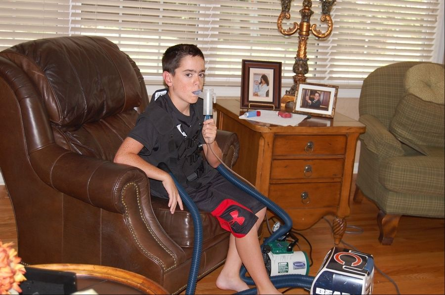 Will Belmonte, turning 13 on Monday, Sept. 17, undergoes hourlong treatments twice a day to ease his cystic fibrosis.