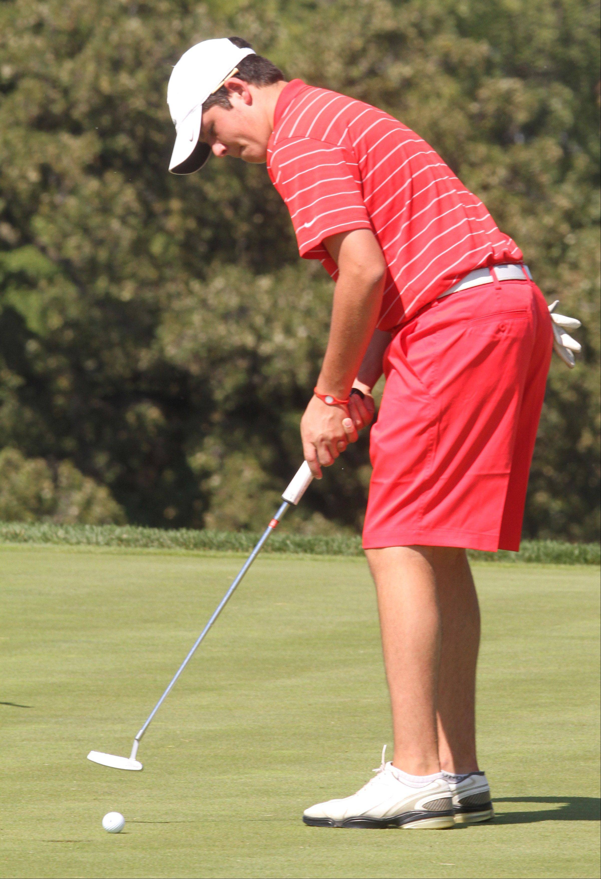 Palatine's Matt Lynch in the Charger Classic boys golf invite, hosted by Dundee-Crown High School, at Randall Oaks Golf Club in West Dundee on Saturday.