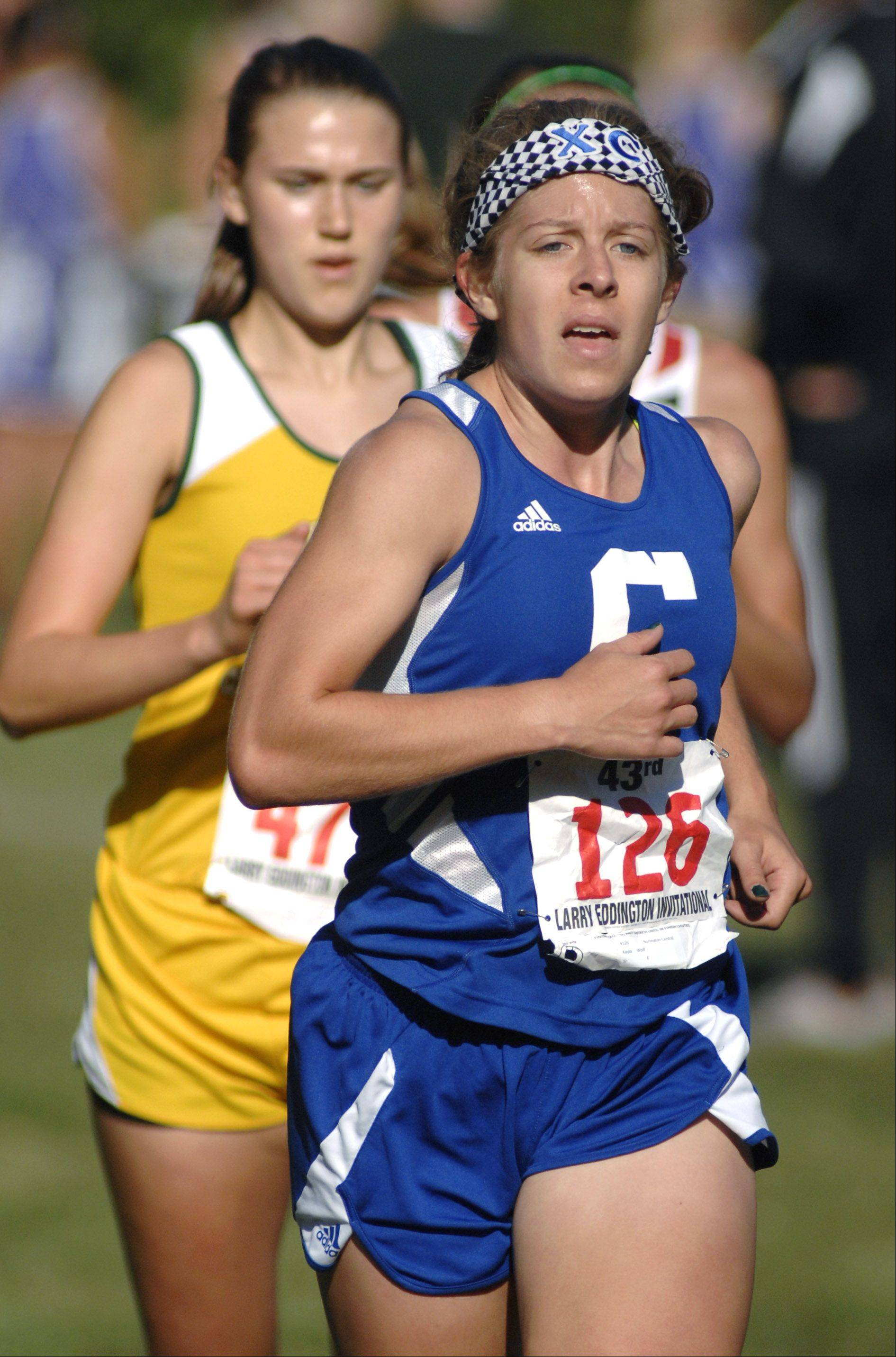 Burlington Central's Kayla Wolf at the Kaneland Eddington Invitational in Elburn on Saturday, September 15.