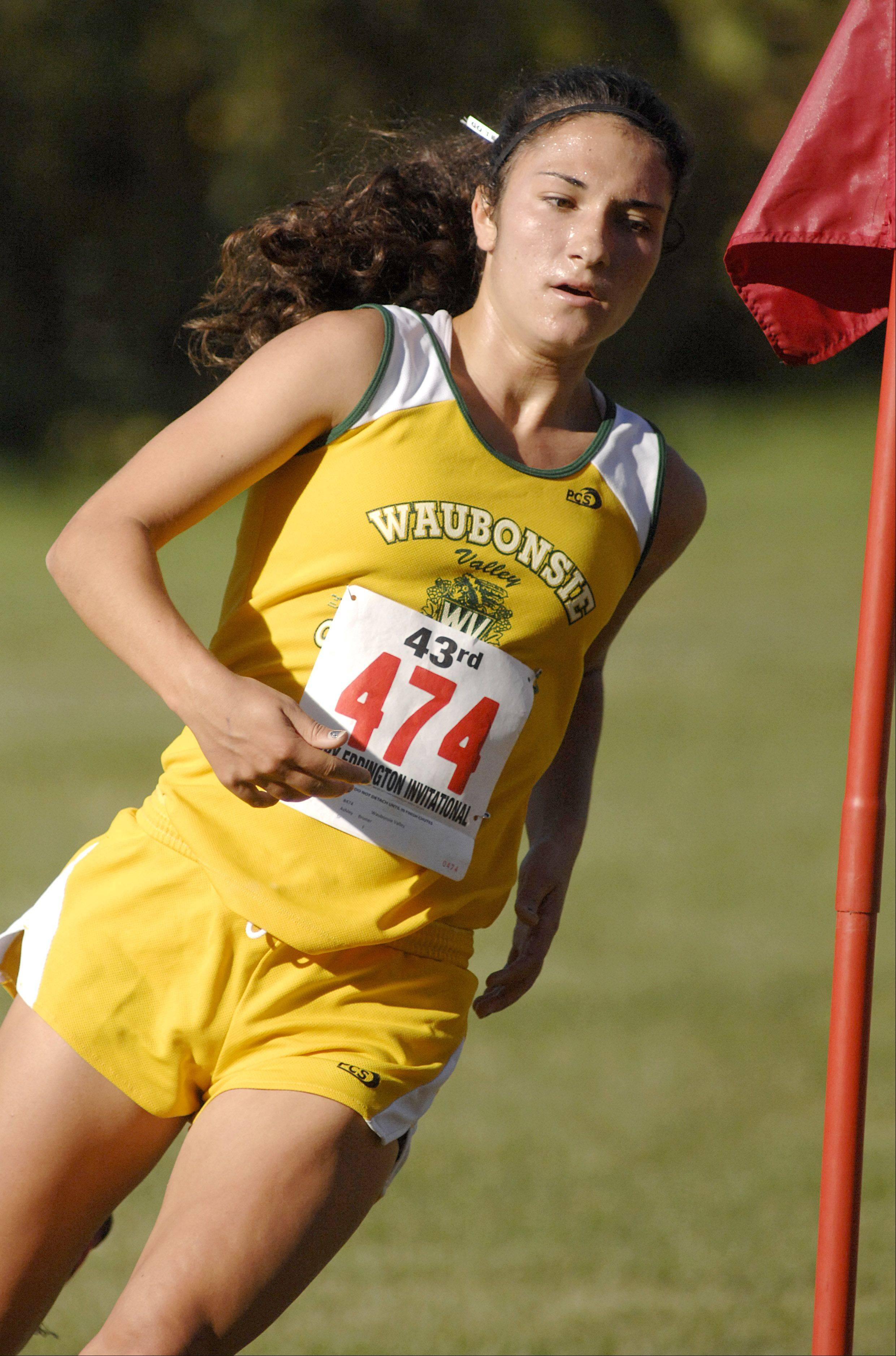 Waubonsie Valley's Ashley Brunner takes seventh place overall at the Kaneland Eddington Invitational in Elburn on Saturday, September 15.