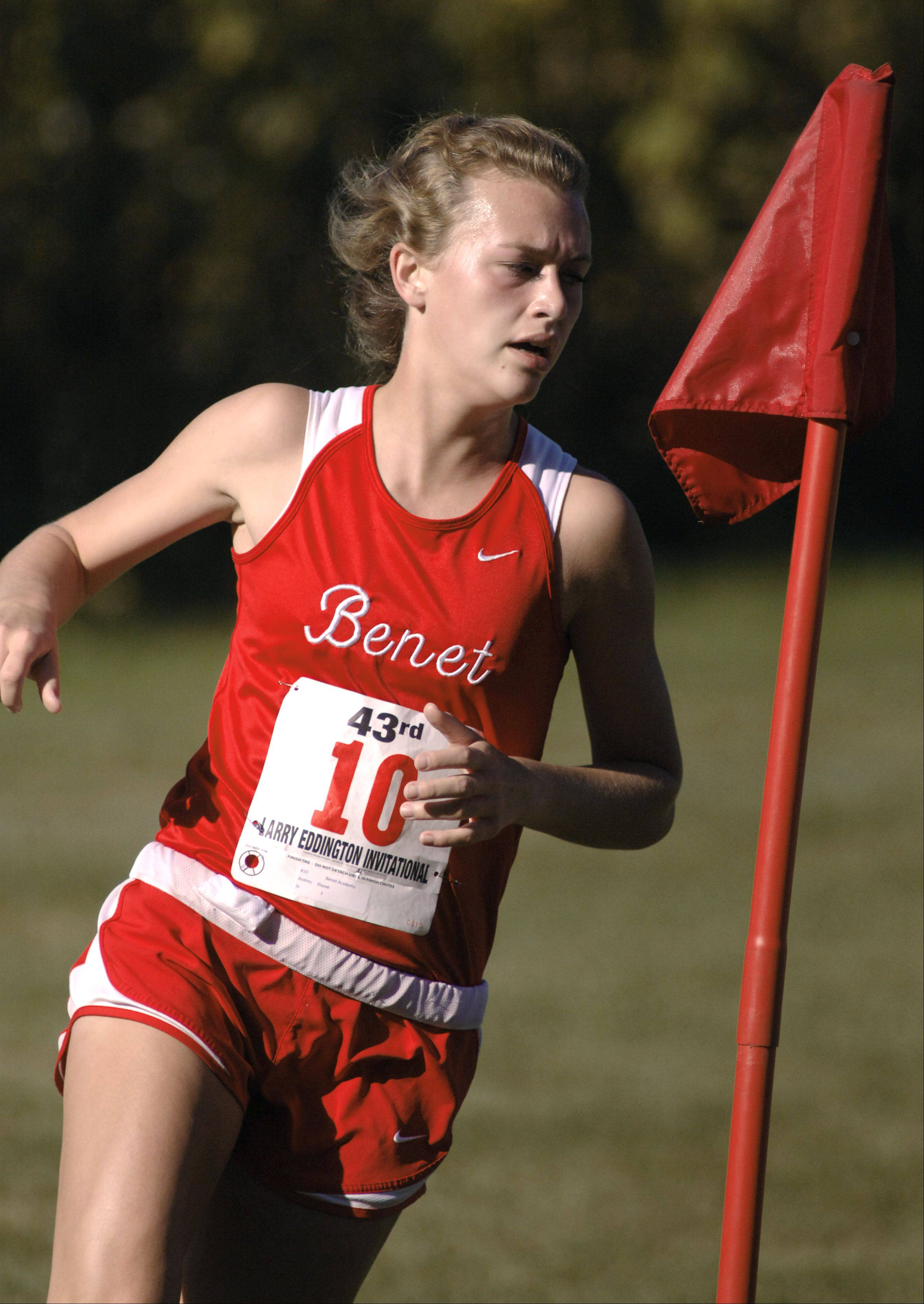 Benet's Audrey Blazek at the Kaneland Eddington Invitational in Elburn on Saturday, September 15.