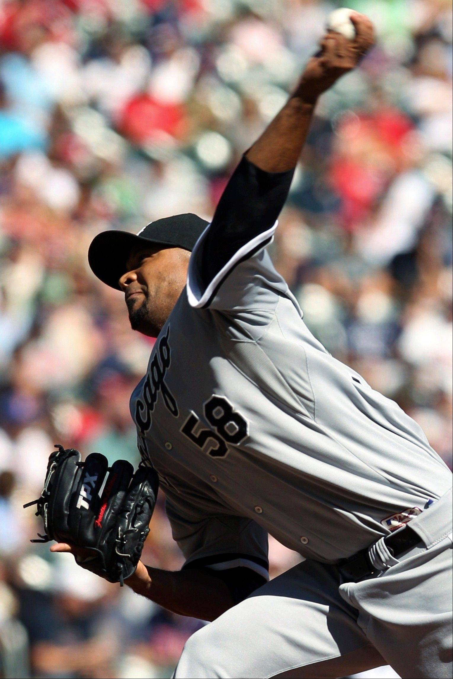 Francisco Liriano took a no-hitter into the seventh inning, Paul Konerko homered and drove in three runs Saturday, and the White Sox stayed on top of the AL Central with a 5-3 victory over the Minnesota Twins.