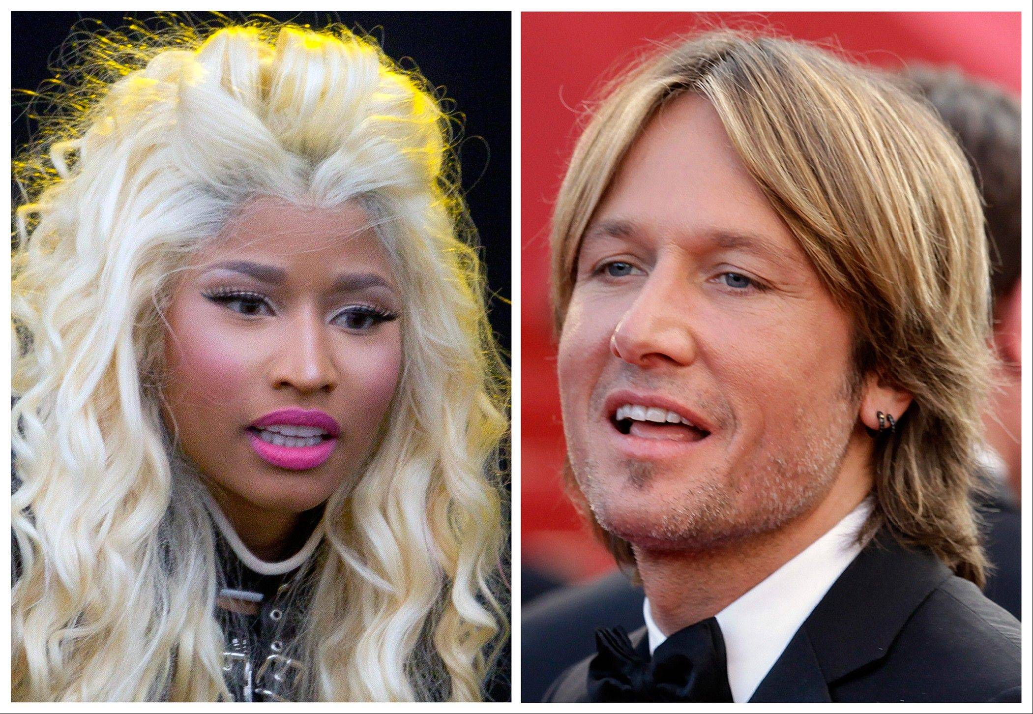 This photo combination shows musicians Nicki Minaj, left, and Keith Urban. The �American Idol� judges� panel is now complete with the naming of singer-rapper Minaj and country crooner Urban. The Fox network officially tapped the pair with an announcement Sunday just hours before the first round of judging for next season was due to begin in New York. Minaj and Urban will join singer Mariah Carey and longtime �Idol� judge Randy Jackson at the judges� table for the show�s 12th season.