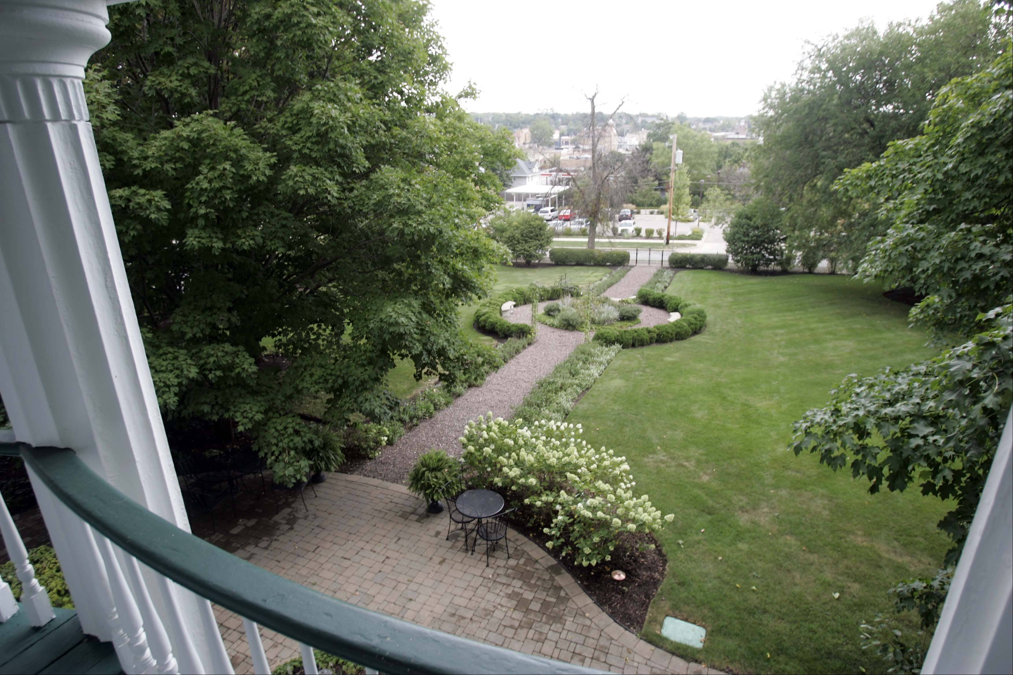 The view from the balcony of the 1859 Greek Revival home of early Mayor Dr. James Lewis in St. Charles. Dr. Lewis was able to see the Fox River from here.