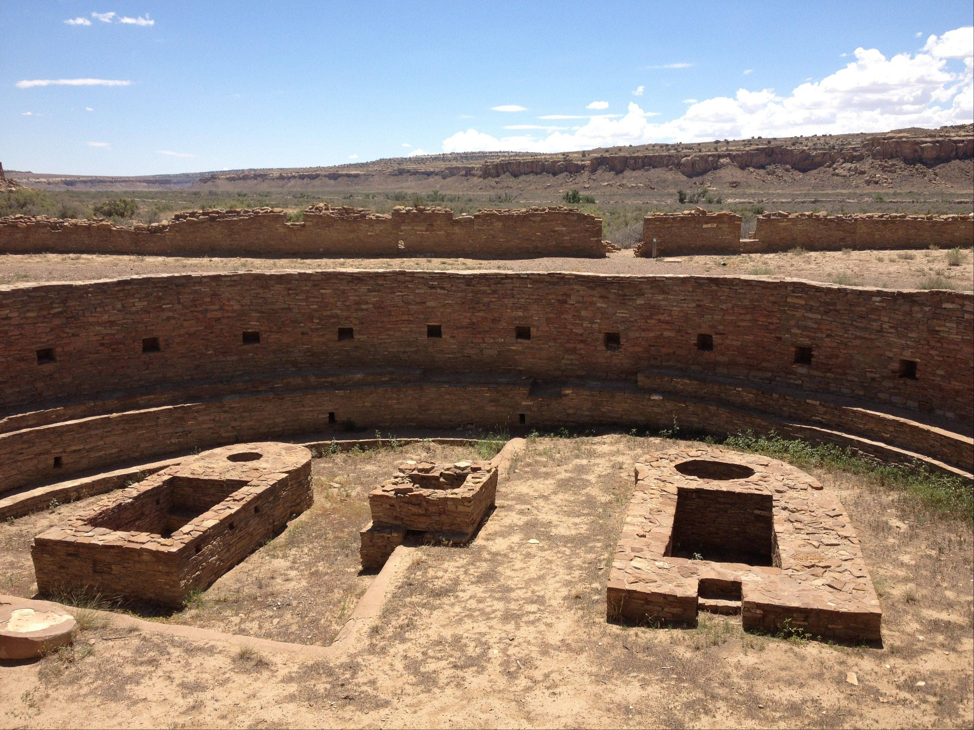 The Great Kiva and Casa Rinconada in Chaco Canyon.