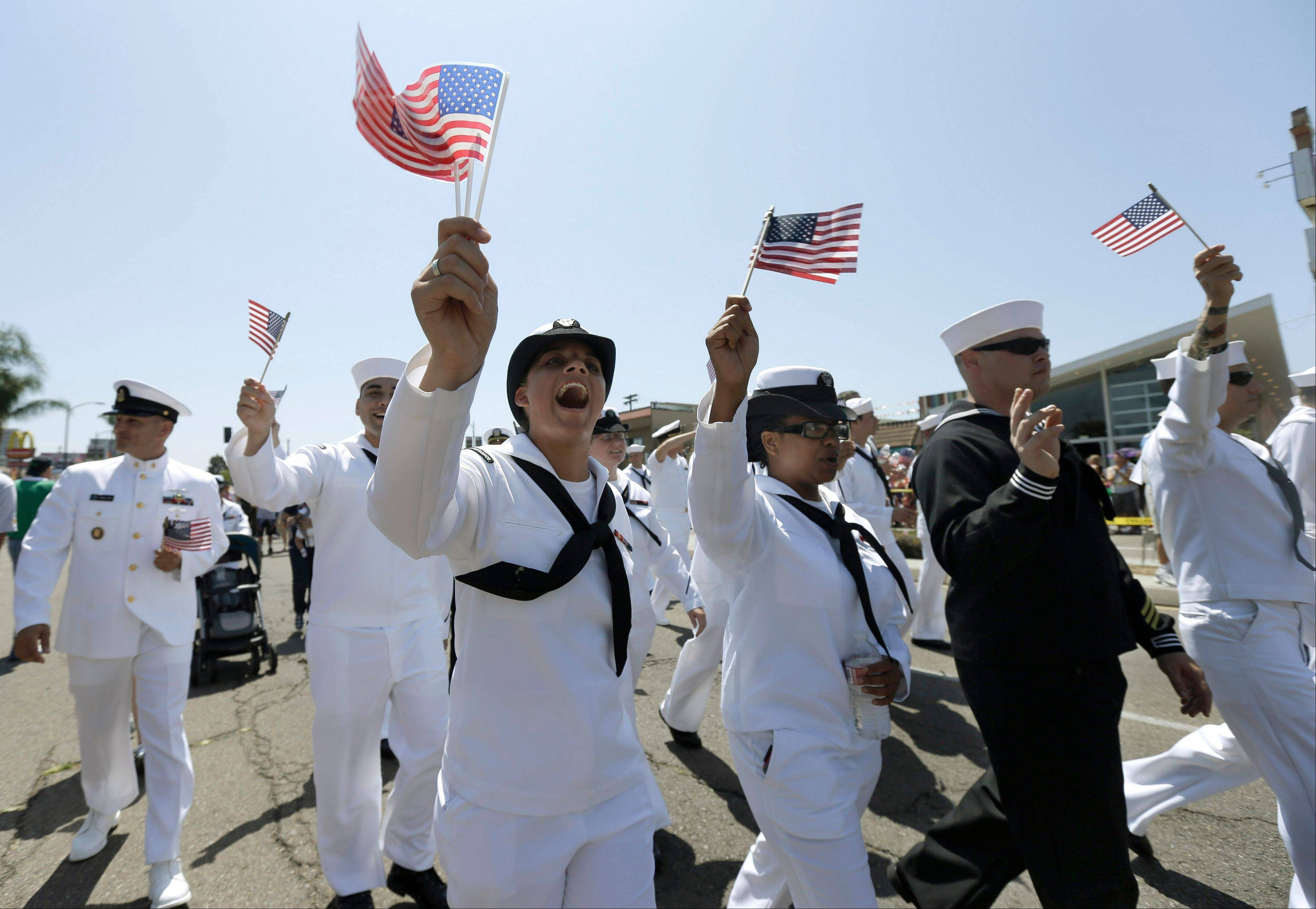 Sailors marched in uniform during a gay pride parade in San Diego on July 21, the first time U.S. service members had done so.
