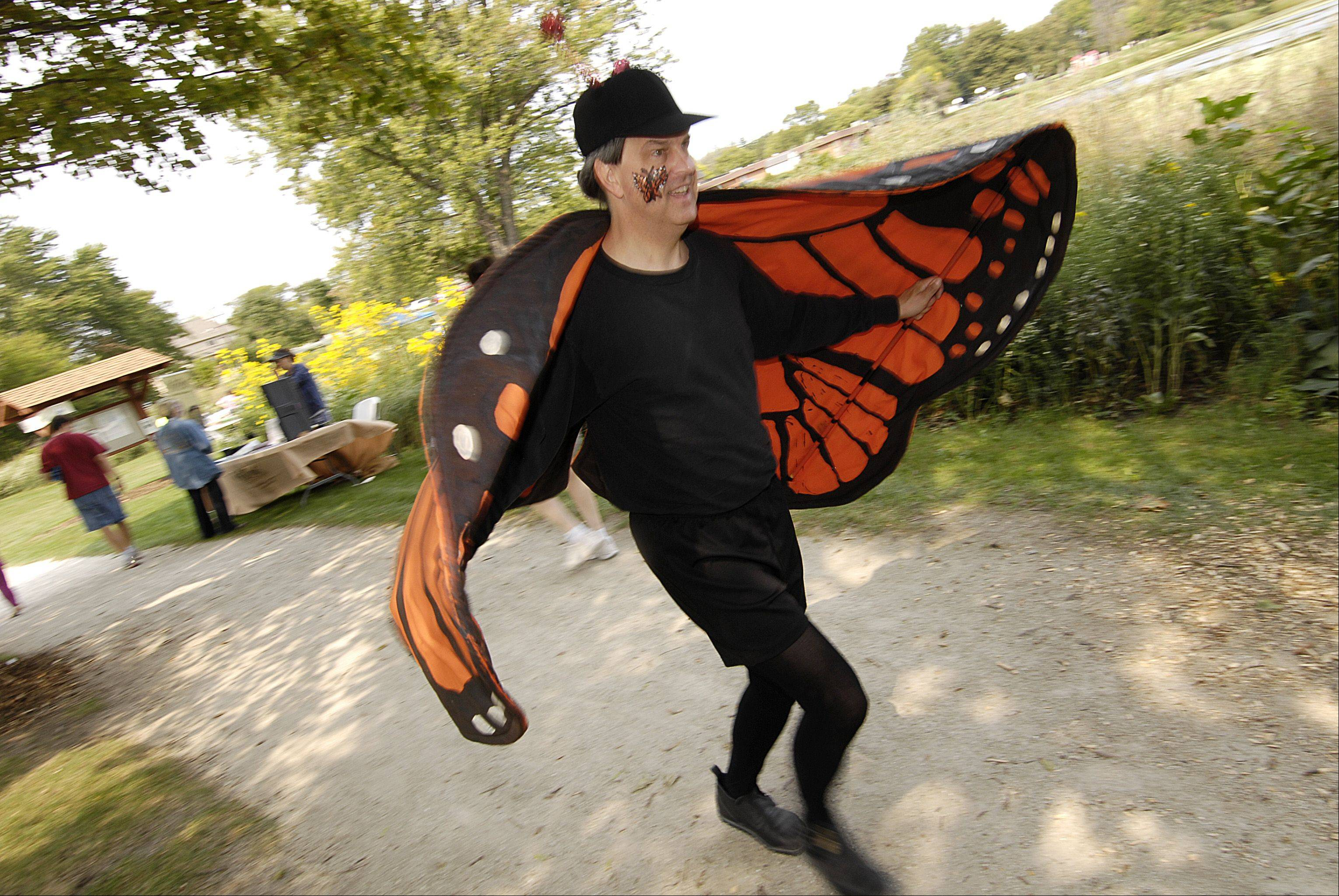 "Dave Lloyd -- ""Mike the Monarch"" -- of Brookfield flutters around during the annual Prairie Days festival at Terrace View Park in Lombard Sunday."