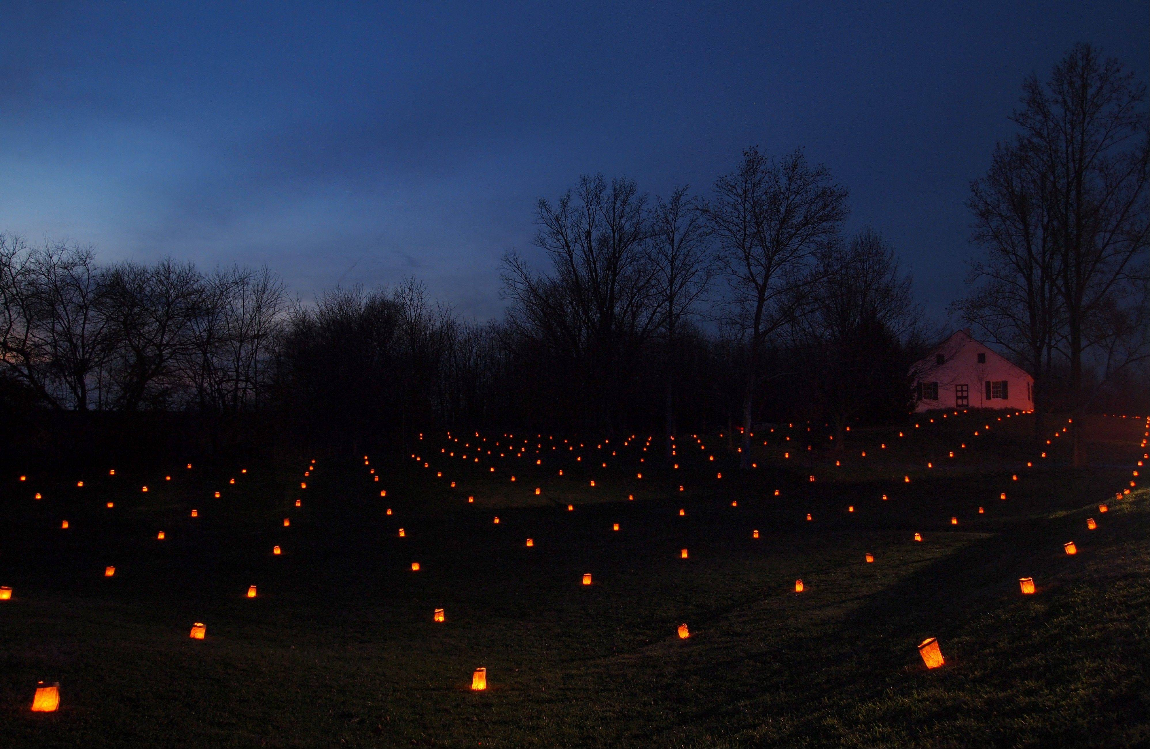 This Dec. 3, 2011 photo provided by Dave Maher shows some of the 23,110 luminaries placed throughout the northern portion of the Antietam battlefield to commemmorate each of the casualties near Sharpsburg, Md. The battle marked a crucial pivot point in the war.