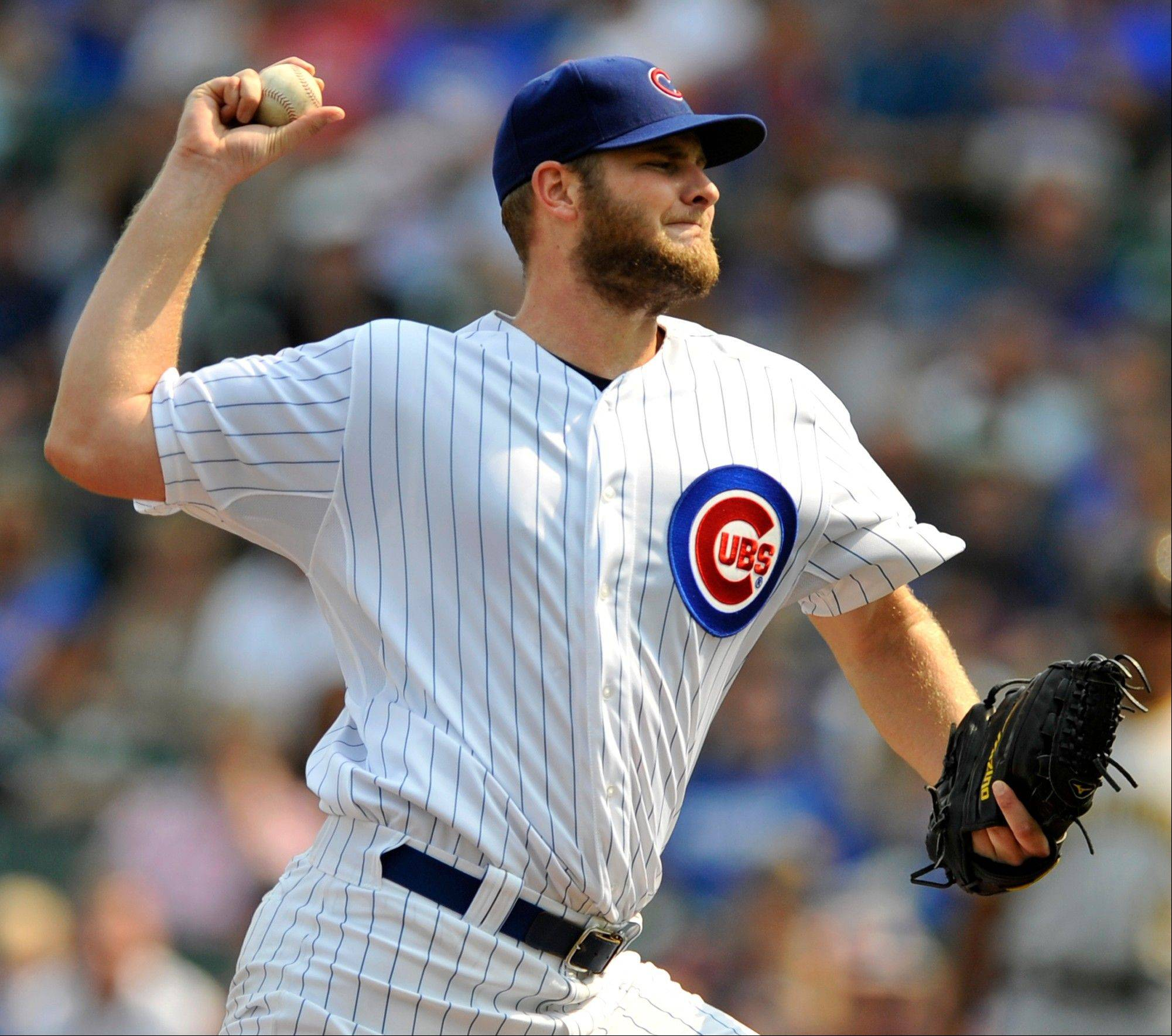 Cubs starter Chris Volstad delivers a pitch in Sunday's first inning at Wrigley Field.