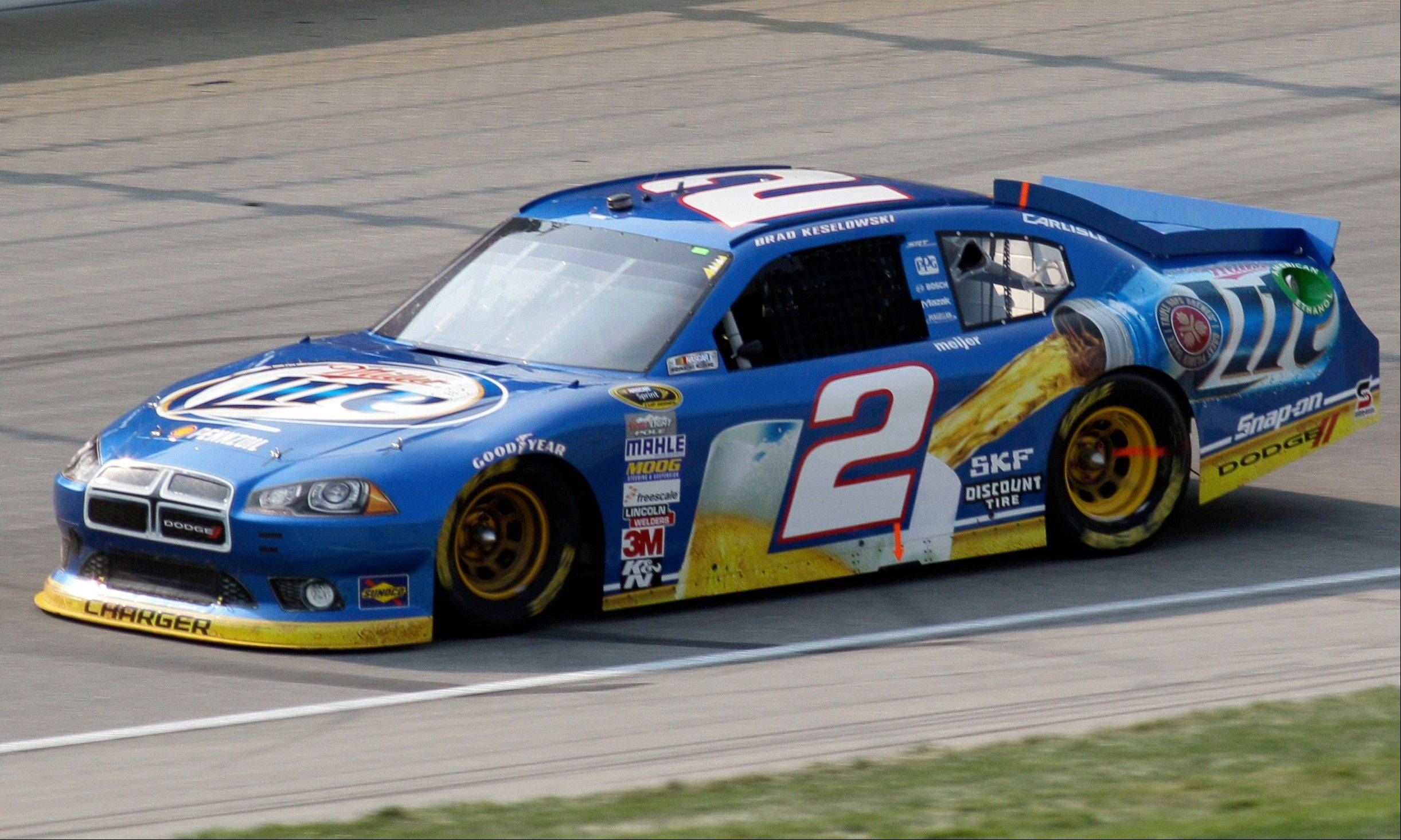 Brad Keselowski drives during the NASCAR Sprint Cup Series auto race at Chicagoland Speedway in Joliet.