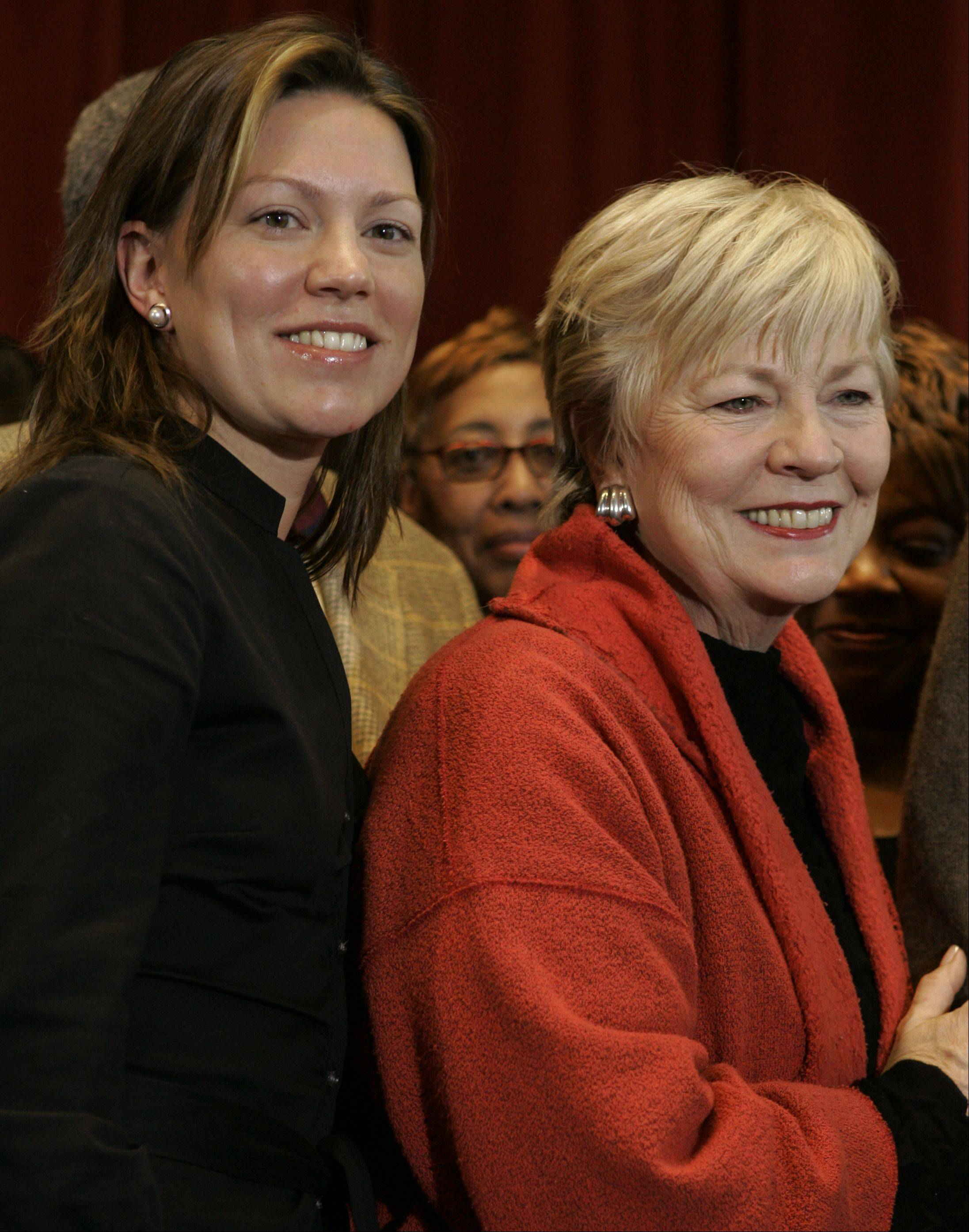 Maggie Daley, right, and daughter Nora Conroy in 2006