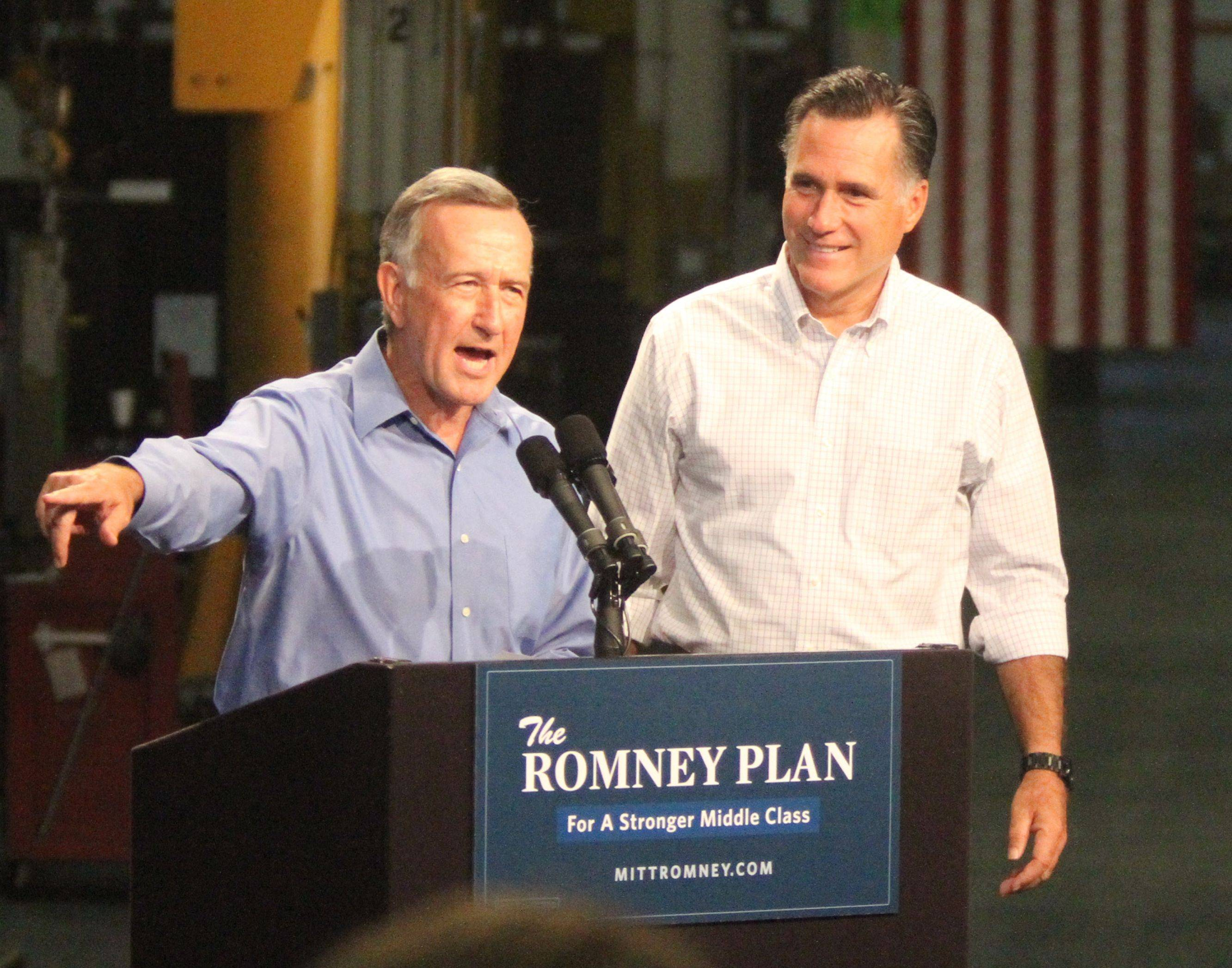Acme Industries CEO Warren Young introduced GOP presidential candidate Mitt Romney at Acme Industries in Elk Grove Village earlier this summer.