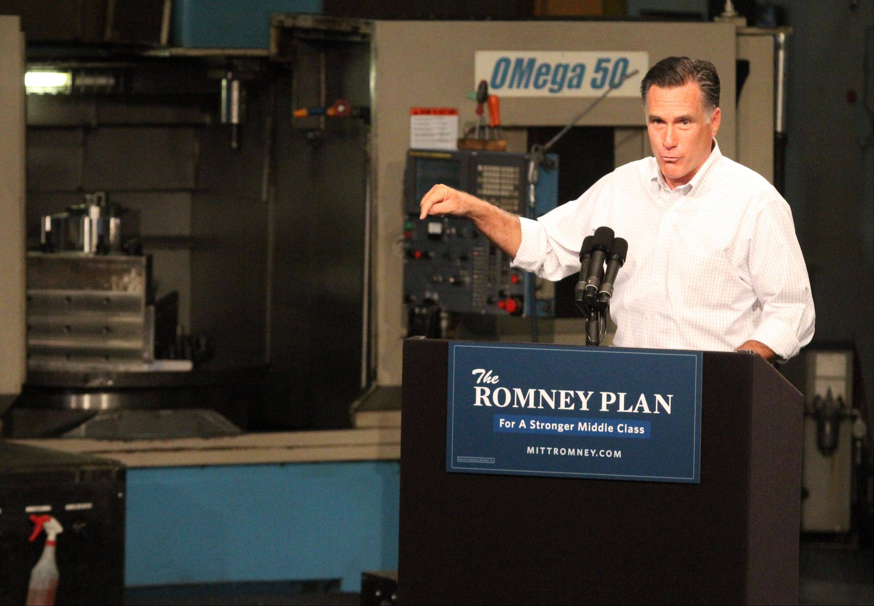 GOP Presidential candidate Mitt Romney spoke at Acme Industries in Elk Grove Village in August.