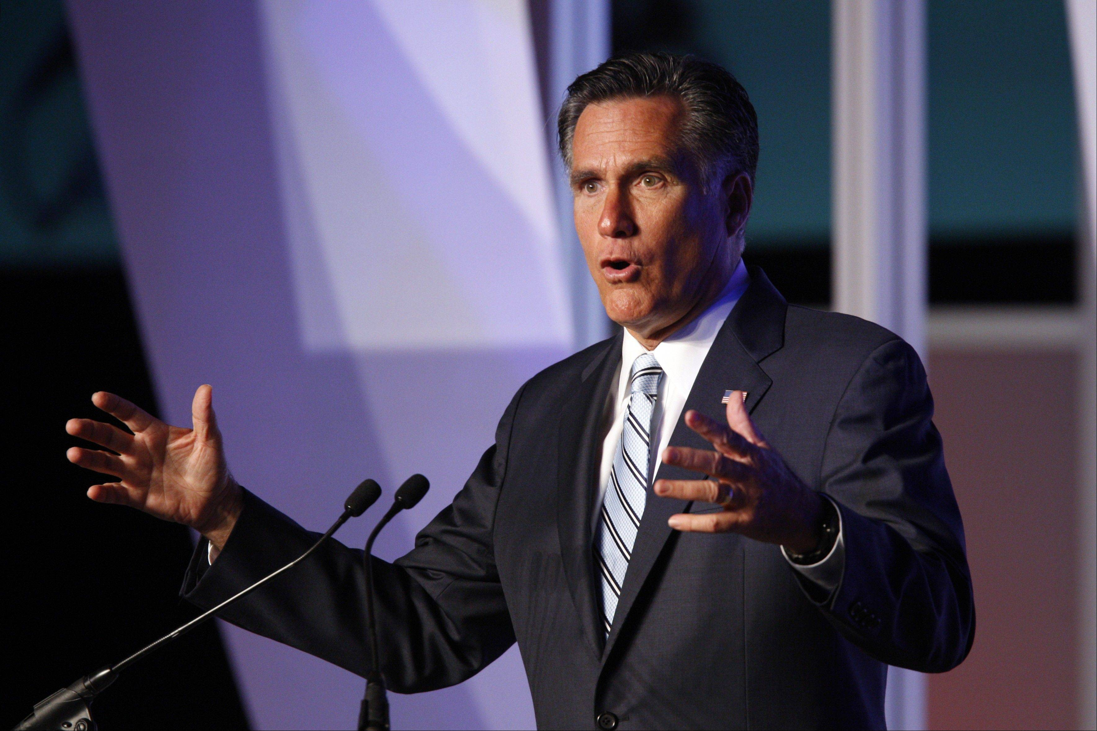 Republican presidential candidate and former Massachusetts Gov. Mitt Romney addresses the U.S. Hispanic Chamber of Commerce in Los Angeles, Monday.