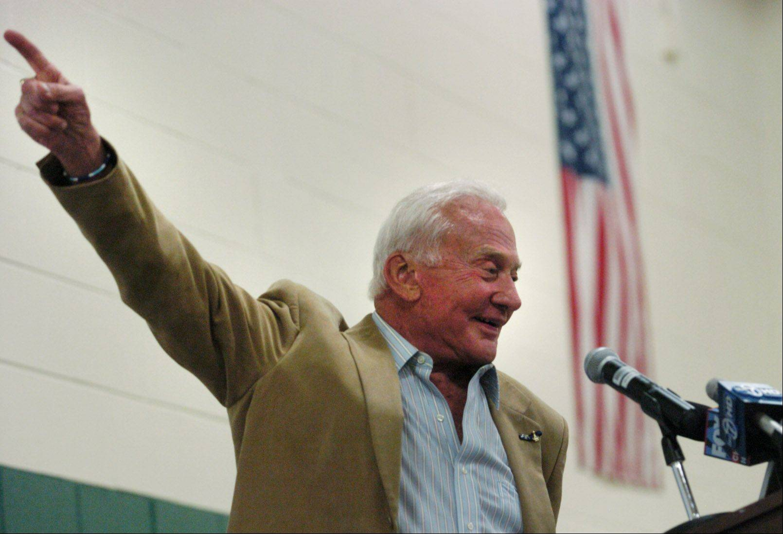 Astronaut Buzz Aldrin speaks to an assembly in his honor Monday at the Aldrin Elementary School in Schaumburg.