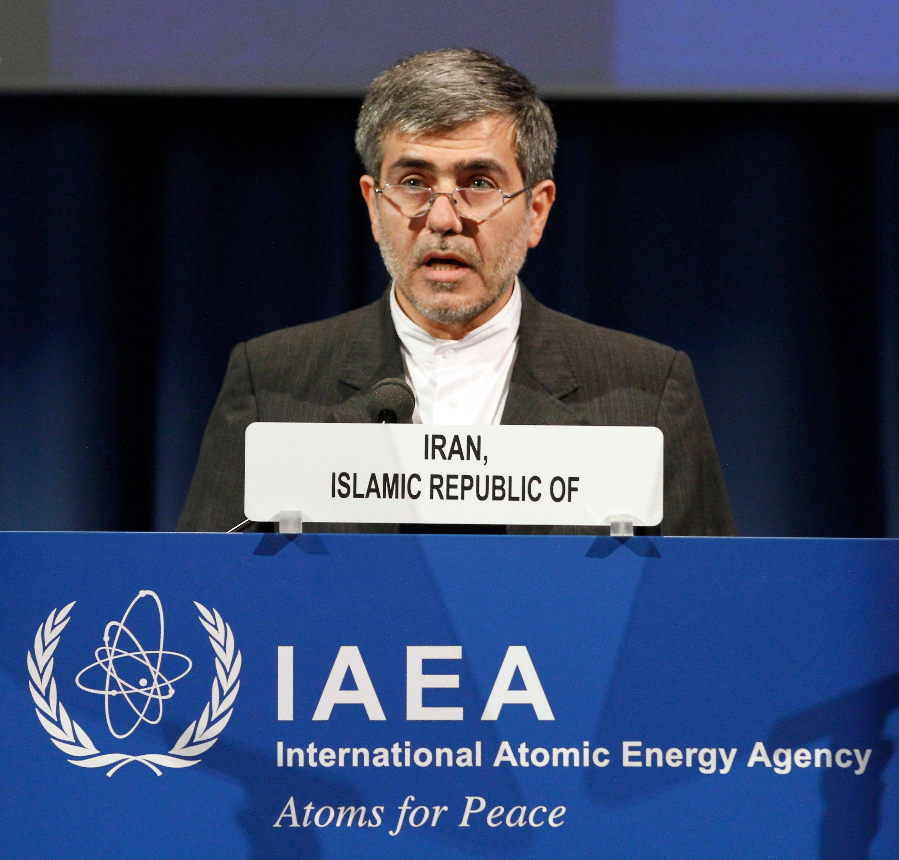 Fereidoun Abbasi Davani, Iran's Vice President and Head of Atomic Energy Organization, delivers a speech at the general conference of the International Atomic Energy Agency in Vienna, Austria, Monday.