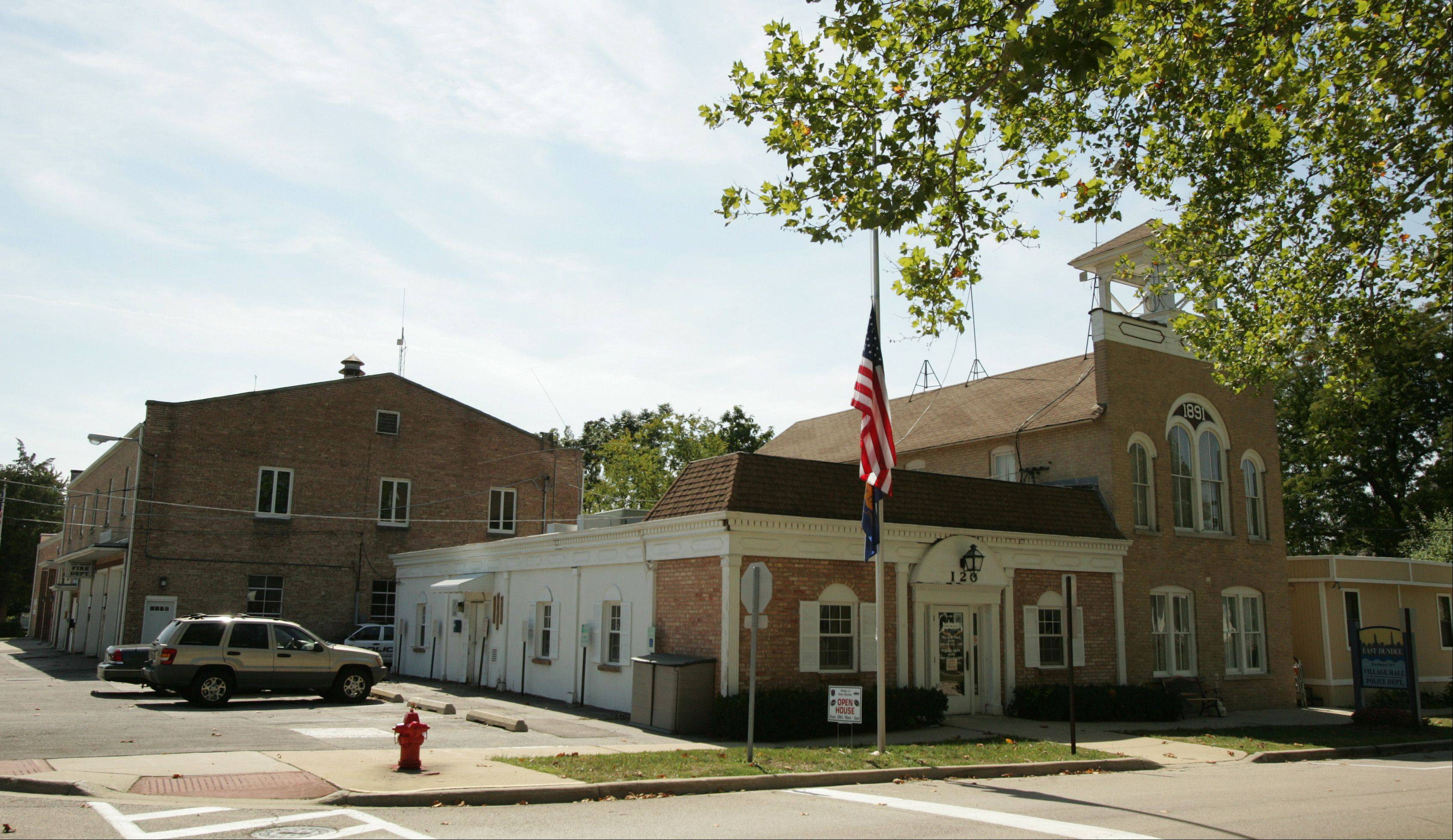 East Dundee's village hall, police station and fire department are all squeezed onto the same block downtown. If the fire district wins voter approval to build a new station farther east, the village would contribute to its construction and then revamp the old fire station into a more modern police station and village hall.