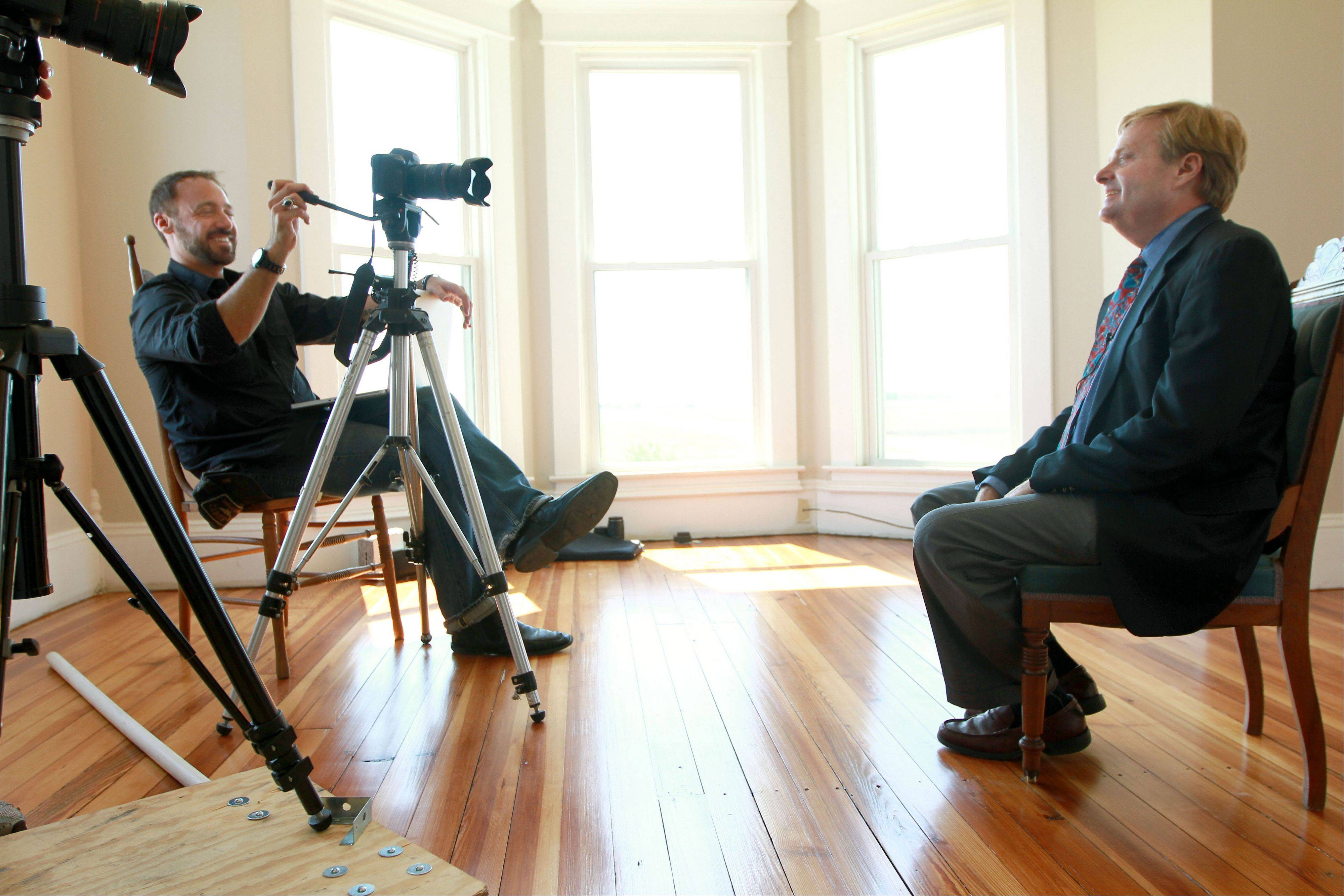 Steve Zukerman interviews Nelson Price about the history of the Dunham house and the area around it for the documentary film project. The Dunham house in Kempton, Ind., is the subject of a documentary film project about President Barack Obama's ancestral roots in Indiana.