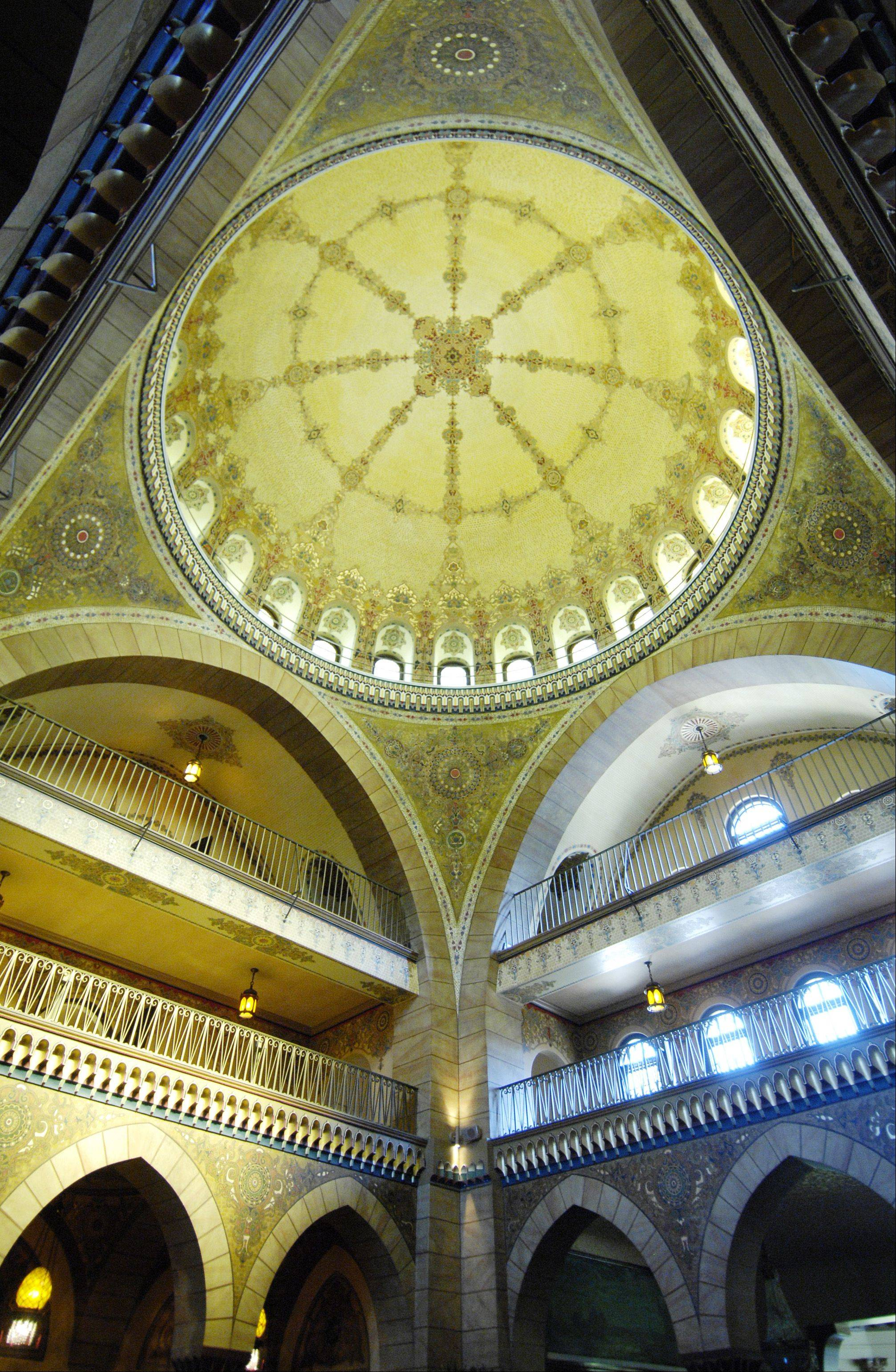 The hand painted dome in the main entrance to the Medinah Country Club.