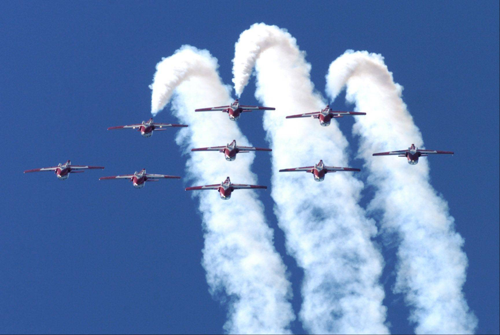 The Royal Canadian Air Force Snowbirds perform during the Waukegan Air Show at the Waukegan Airport Saturday.
