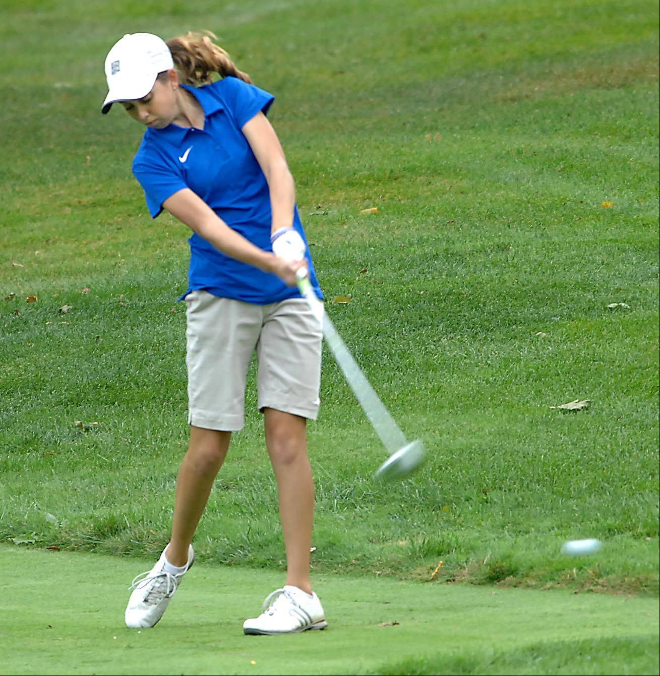 Alison Smith of Larkin/Elgin Co-op tees off Monday at the Elgin Country Club girls golf invitational.