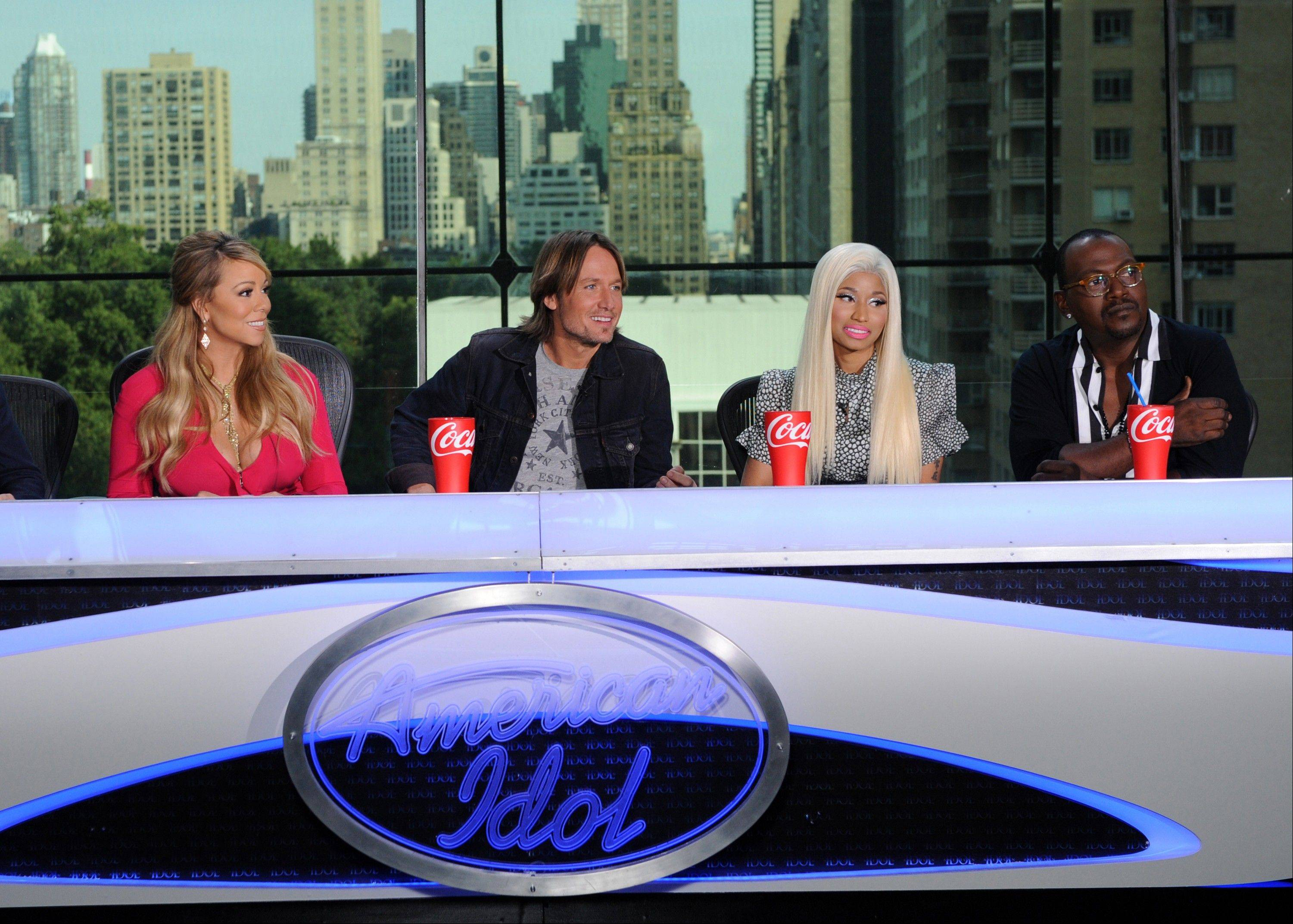 """American Idol"" judges Mariah Carey, left, Keith Urban, Nicki Minaj and Randy Jackson say they're getting along well so far."
