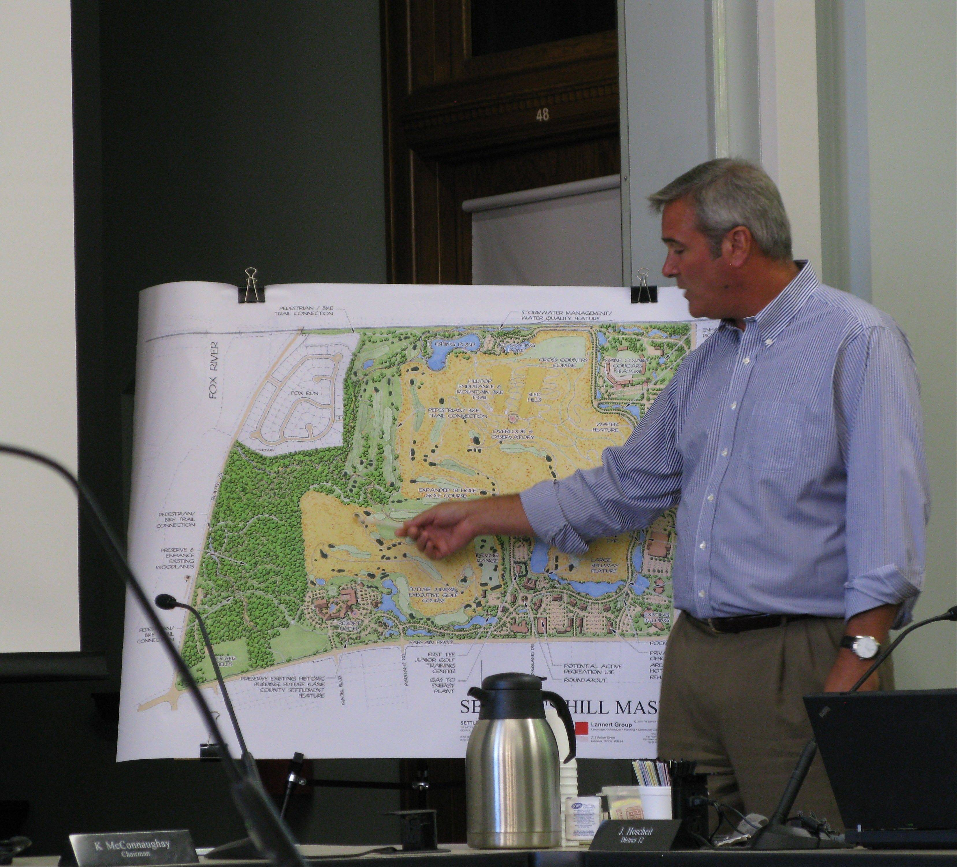 Kane County Board member Mike Donahue Tuesday explained how a volunteer group of local fans of the Fabyan Woods will take over the vision planning for the east branch of the woods. The woods are part of a 700-acre campus on Fabyan Parkway and shown in the left corner of the map.