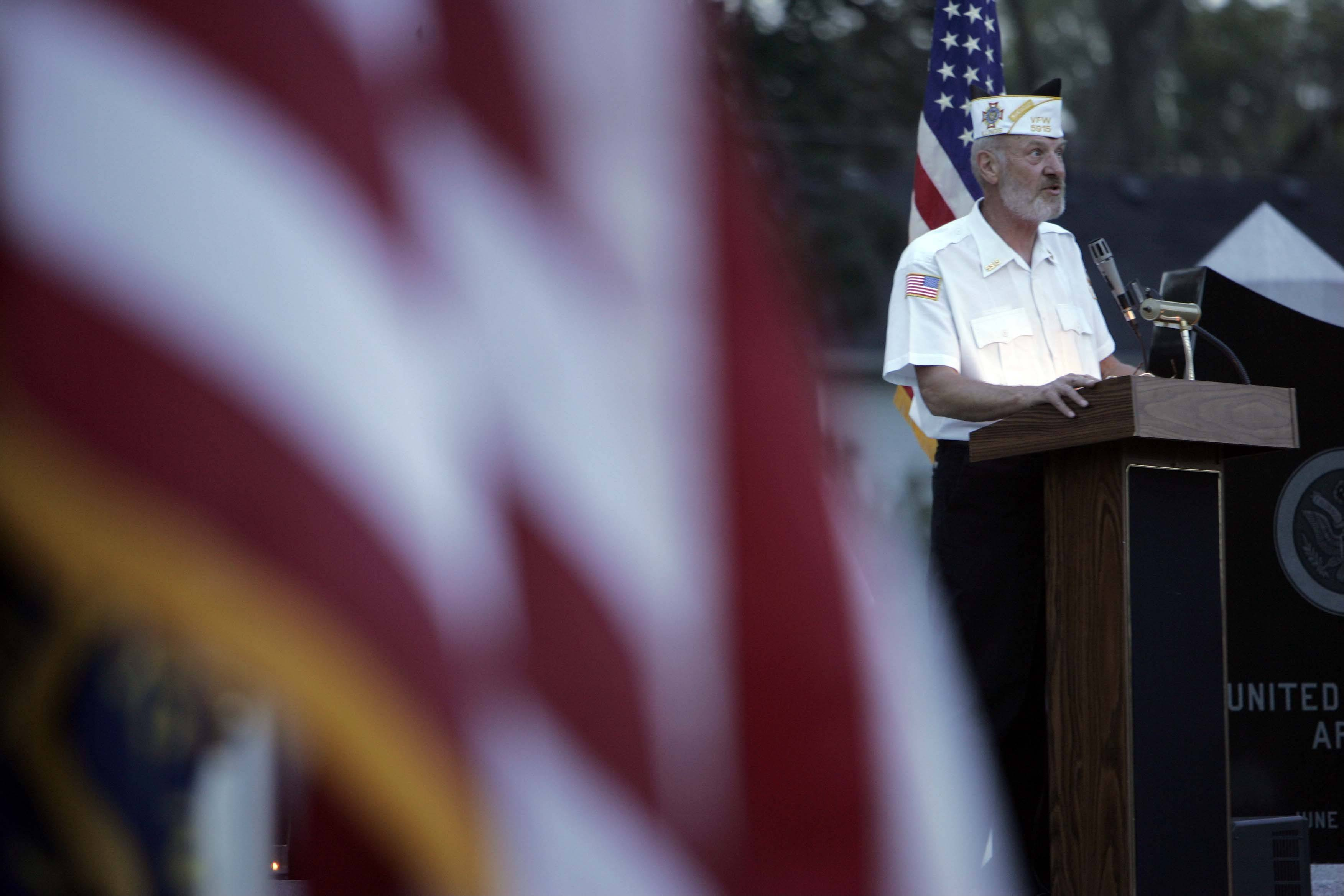Jack Hosey, of Elgin, addresses the crowd during Carpentersville Veterans of Foreign Wars Post 5915's 20th annual ceremony of honor and remembrance on National POW/MIA Recognition Day in 2007 at Veterans Garden in Carpenter Park.