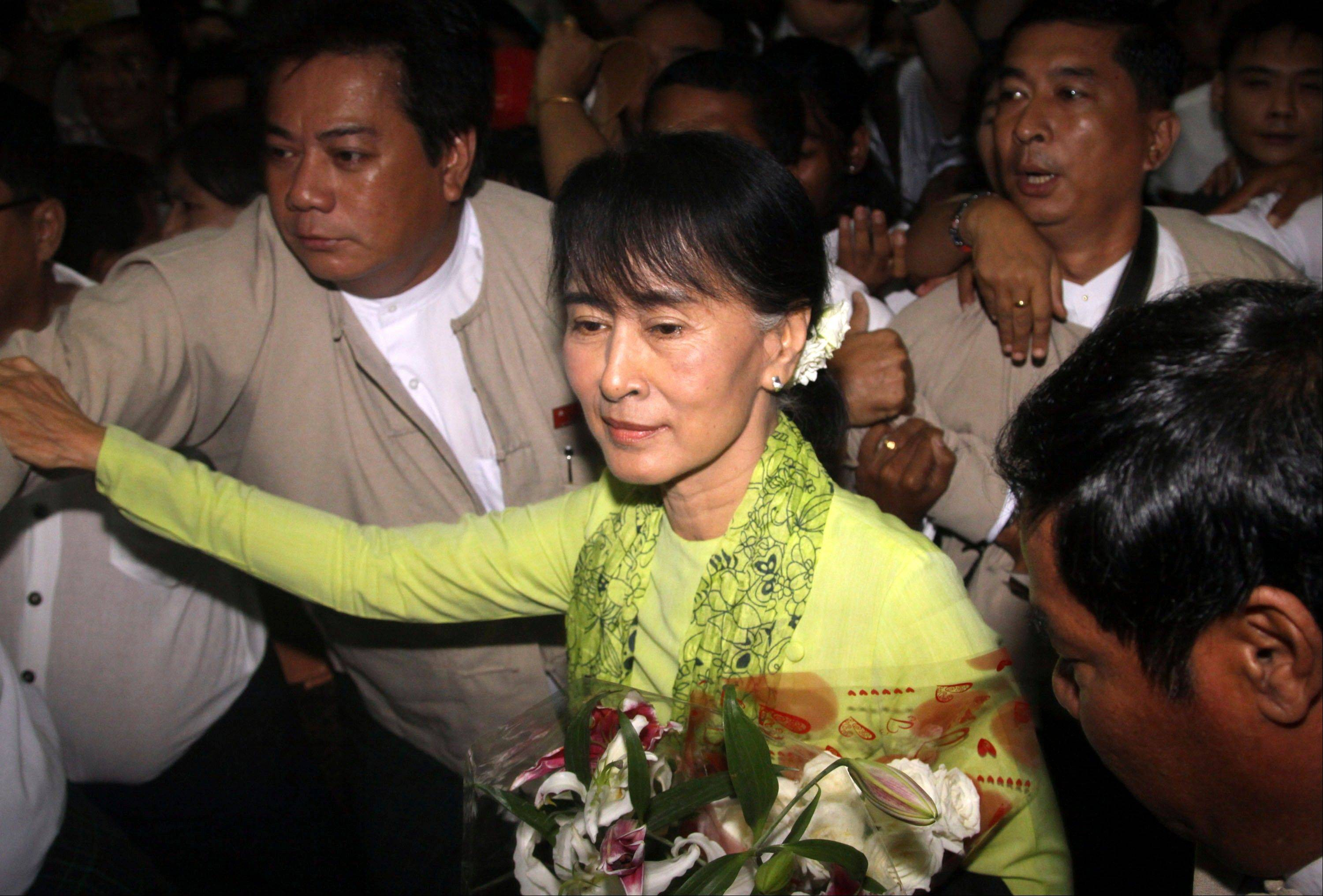 Myanmar opposition Leader Aung San Suu Kyi left Sunday on her first U.S. trip since she was put under house arrest in1990. She will be feted in Washington this week and presented Congress's highest award, the latest milestone in her journey from political prisoner to globe-trotting stateswoman. The Nobel Peace laureate's 17-day U.S. tour, starting Monday, comes as the Obama administration considers easing its remaining sanctions on the country also known as Burma.