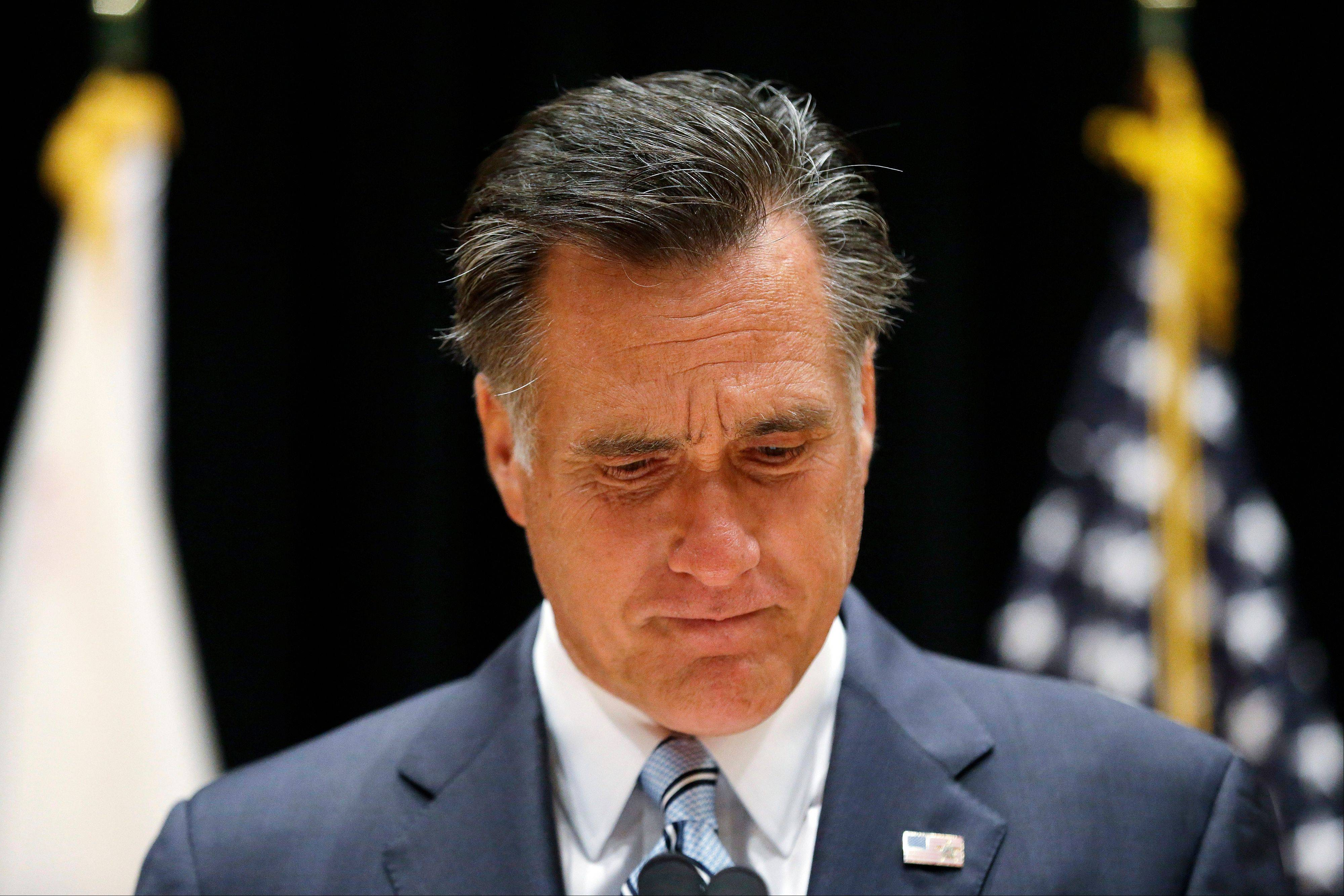 Republican presidential candidate and former Massachusetts Gov. Mitt Romney speaks to reporters about the secretly taped video from one of his campaign fundraising events in Costa Mesa, Calif., Monday, Sept. 17, 2012.