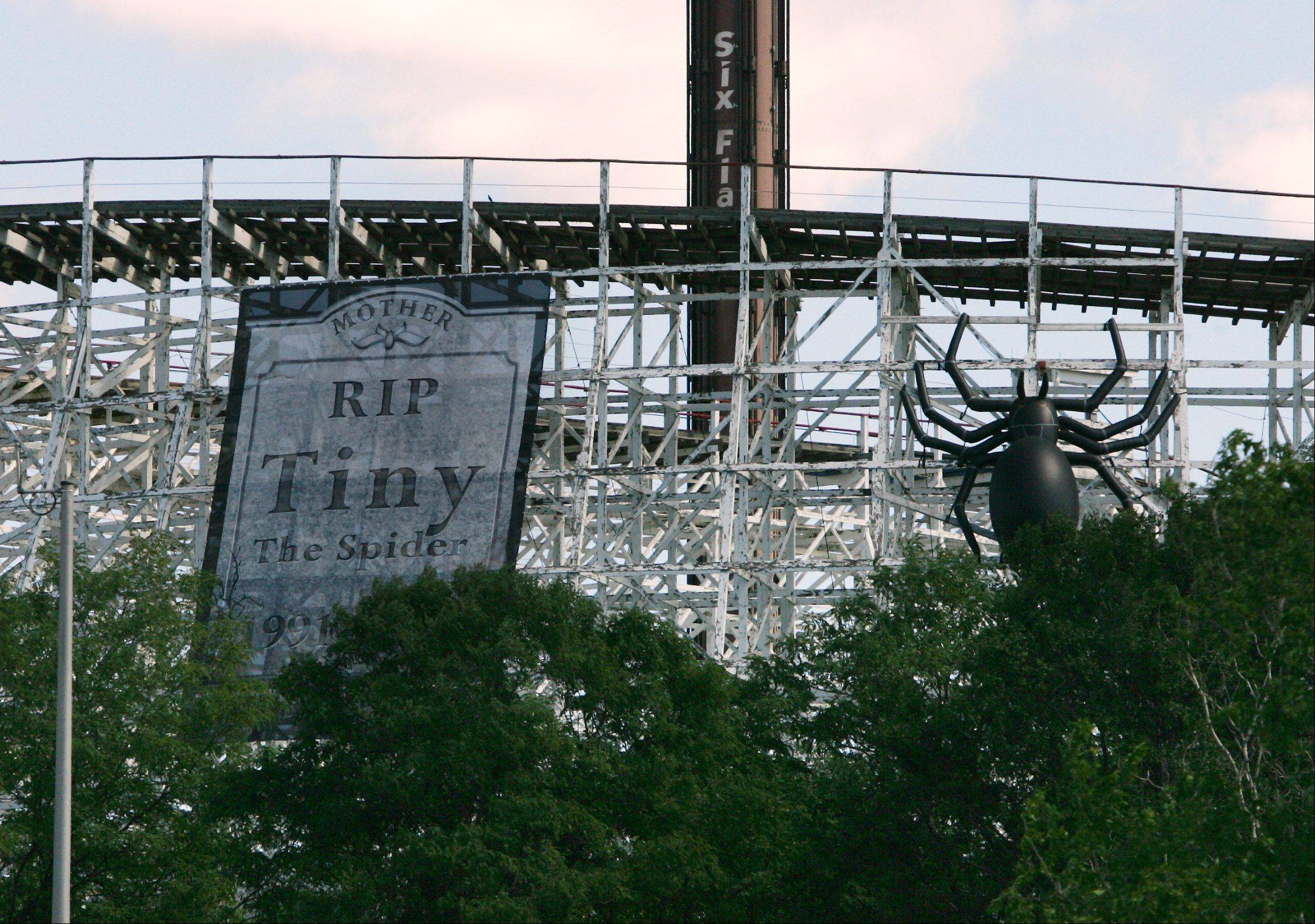 "A banner depicting a tombstone for Tiny the Spider, hangs on the side of the American Eagle roller coaster with one of her babies this Halloween season at Six Flags Great America in Gurnee. Six Flags released an ""obituary"" Monday for Tiny the Spider, who has been an icon for the amusement park's Fright Fest event for the past 21 years."