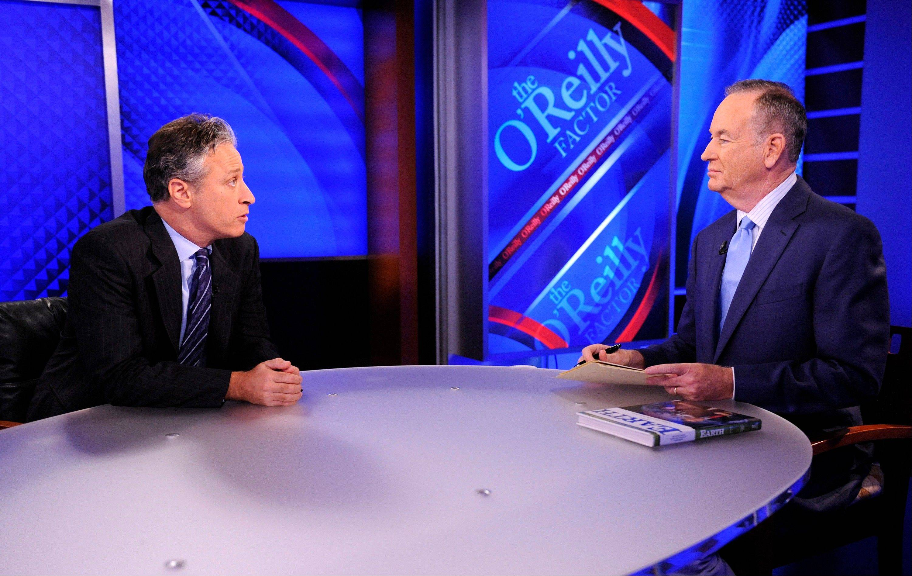 "Jon Stewart, left, from ""The Daily Show With Jon Stewart"" and political pundit Bill O'Reilly from ""The O'Reilly Factor"" will face off for a special 90-minute debate online about the 2012 presidential race on Oct. 6."