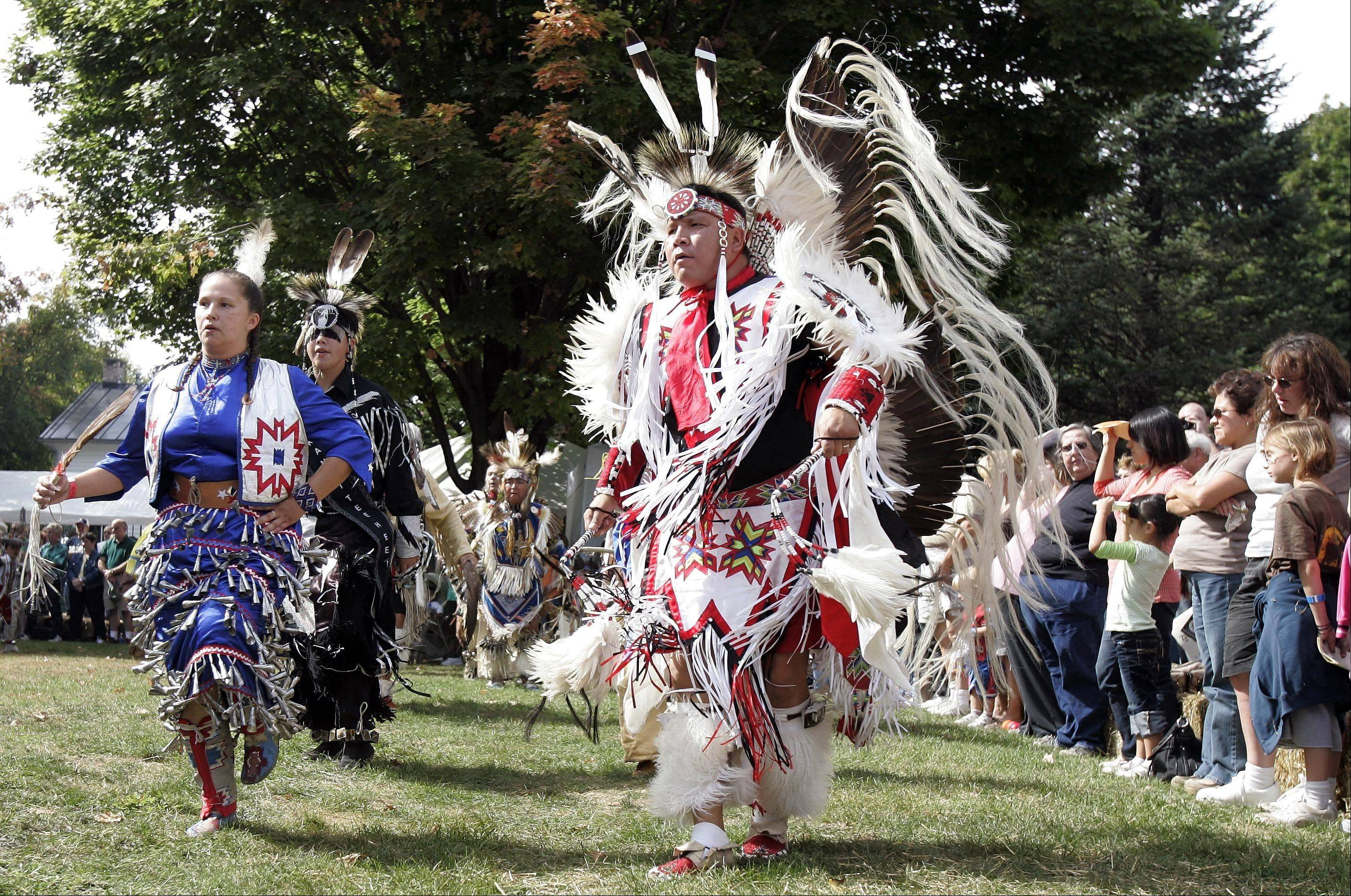 Grand Entries are among the highlights of the annual Harvest Pow Wow at Naper Settlement. Processions are at 1 and 7 p.m. Saturday and at 1 p.m. Sunday.