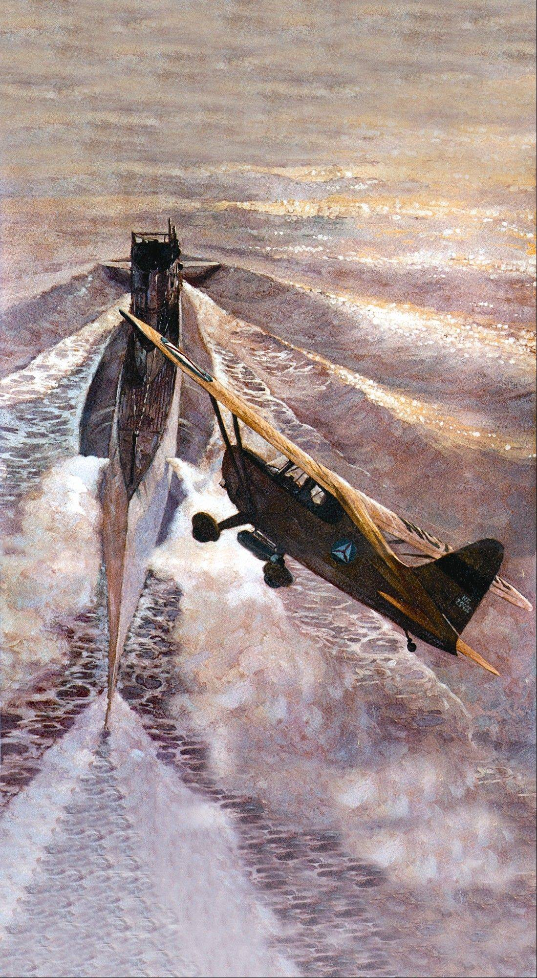 This painting depicts a World War II sub-chasing mission of the volunteer civilian group now known as the Civil Air Patrol.
